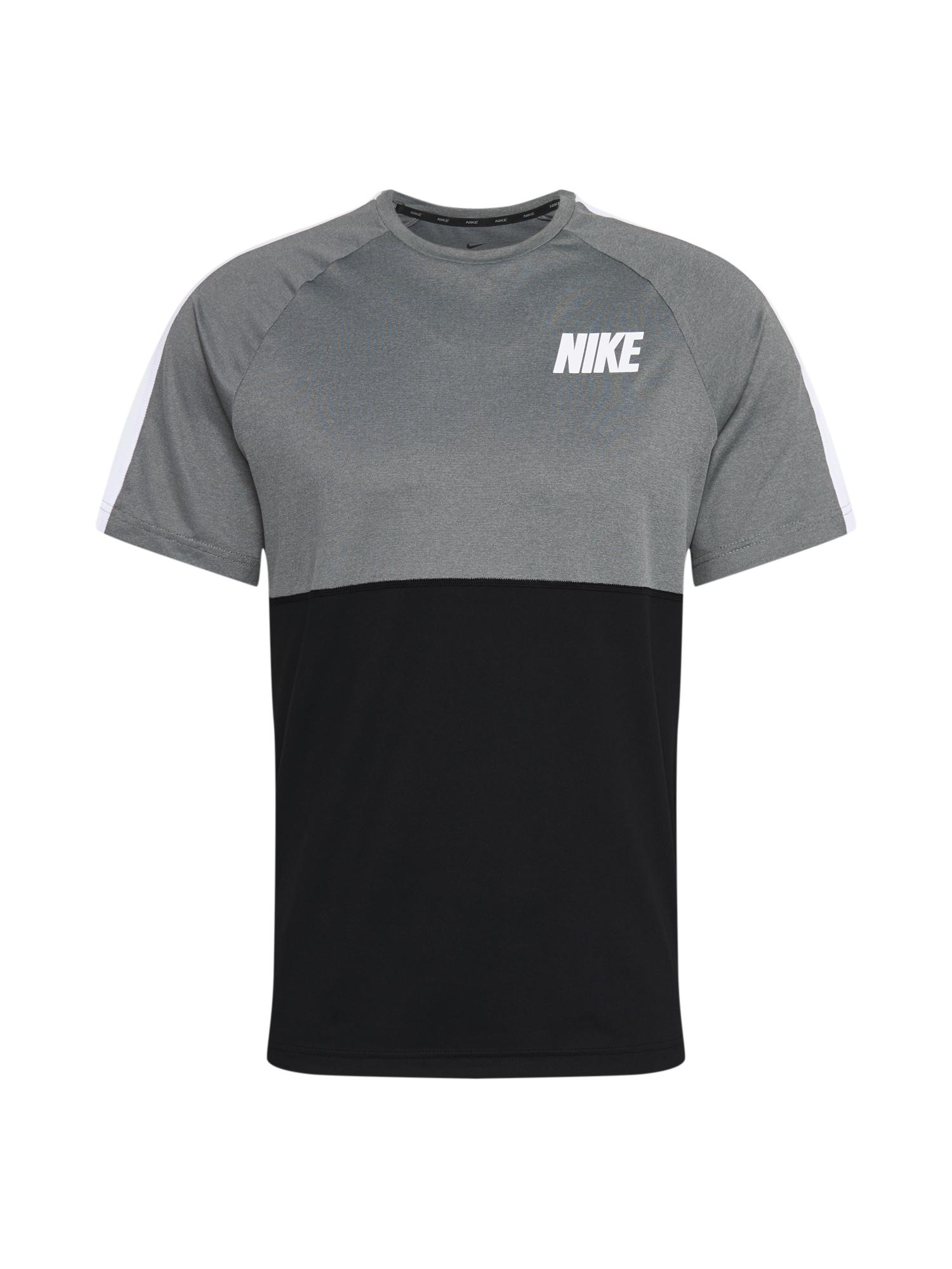 NIKE Funkční tričko  bílá / černá / šedá