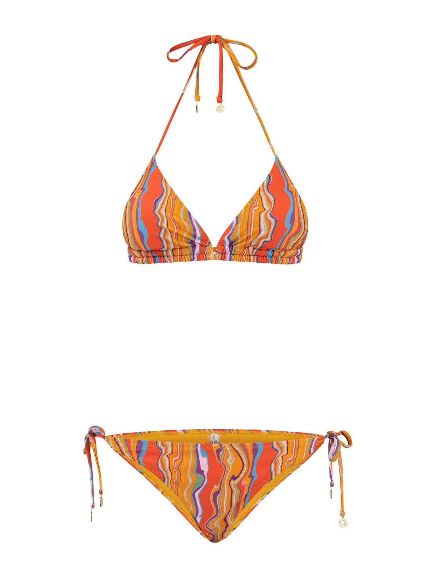 Shiwi Bikinis aukso geltonumo spalva / tamsiai oranžinė / balta / šviesiai mėlyna / šviesiai violetinė