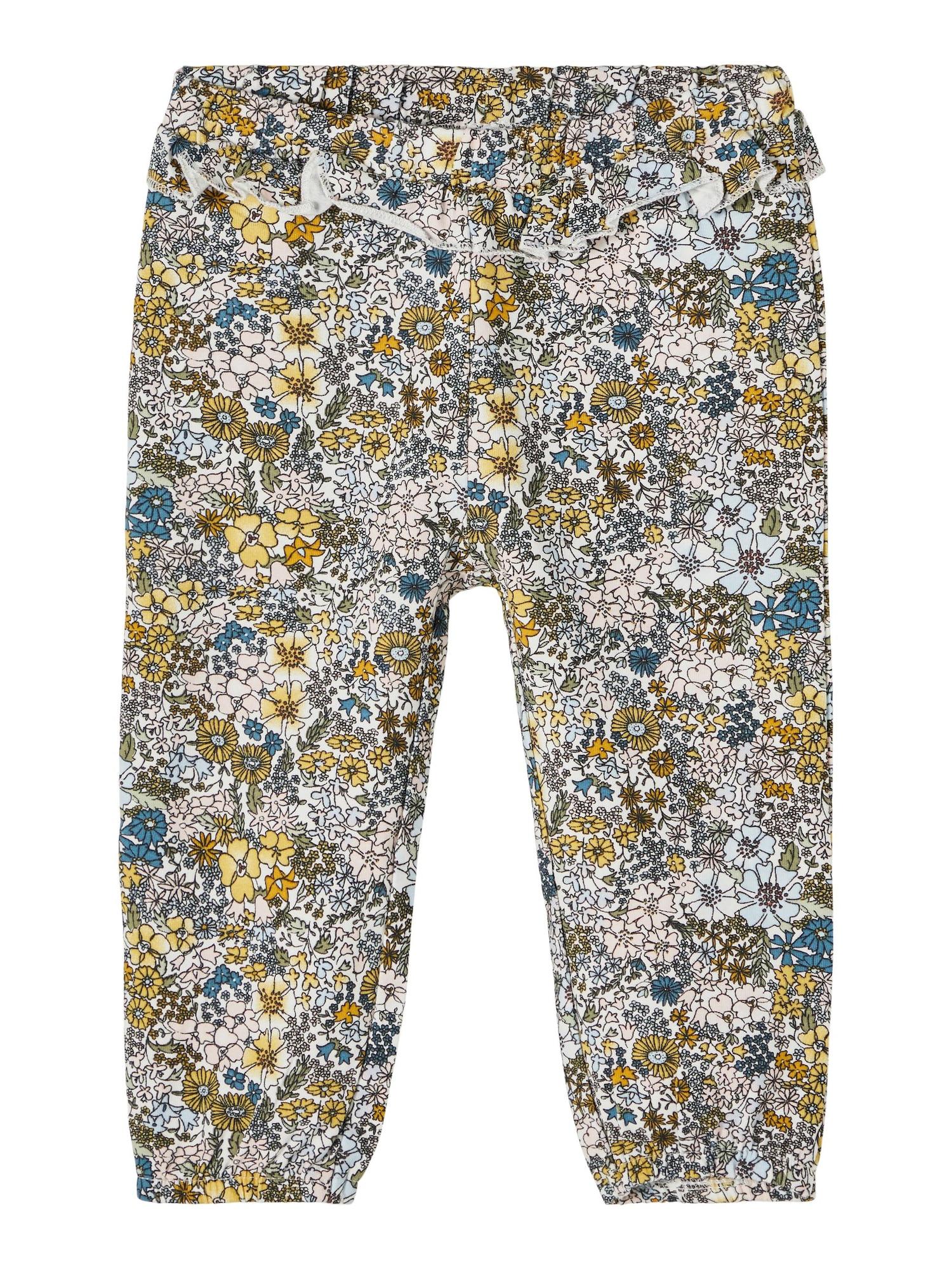 NAME IT Kelnės 'Dahlia' natūrali balta / geltona / mėlyna / juoda