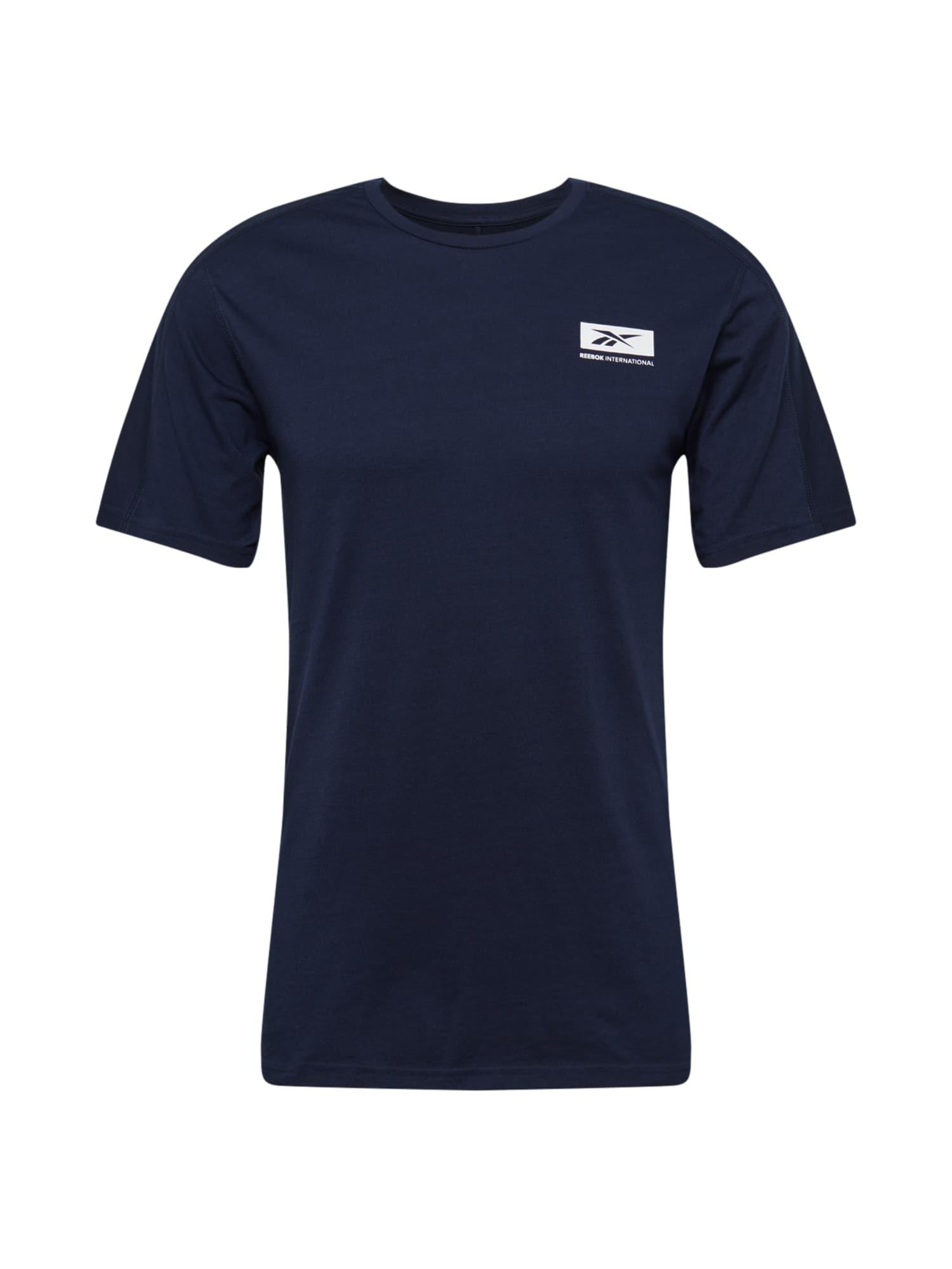 REEBOK Funkční tričko  tmavě modrá / bílá