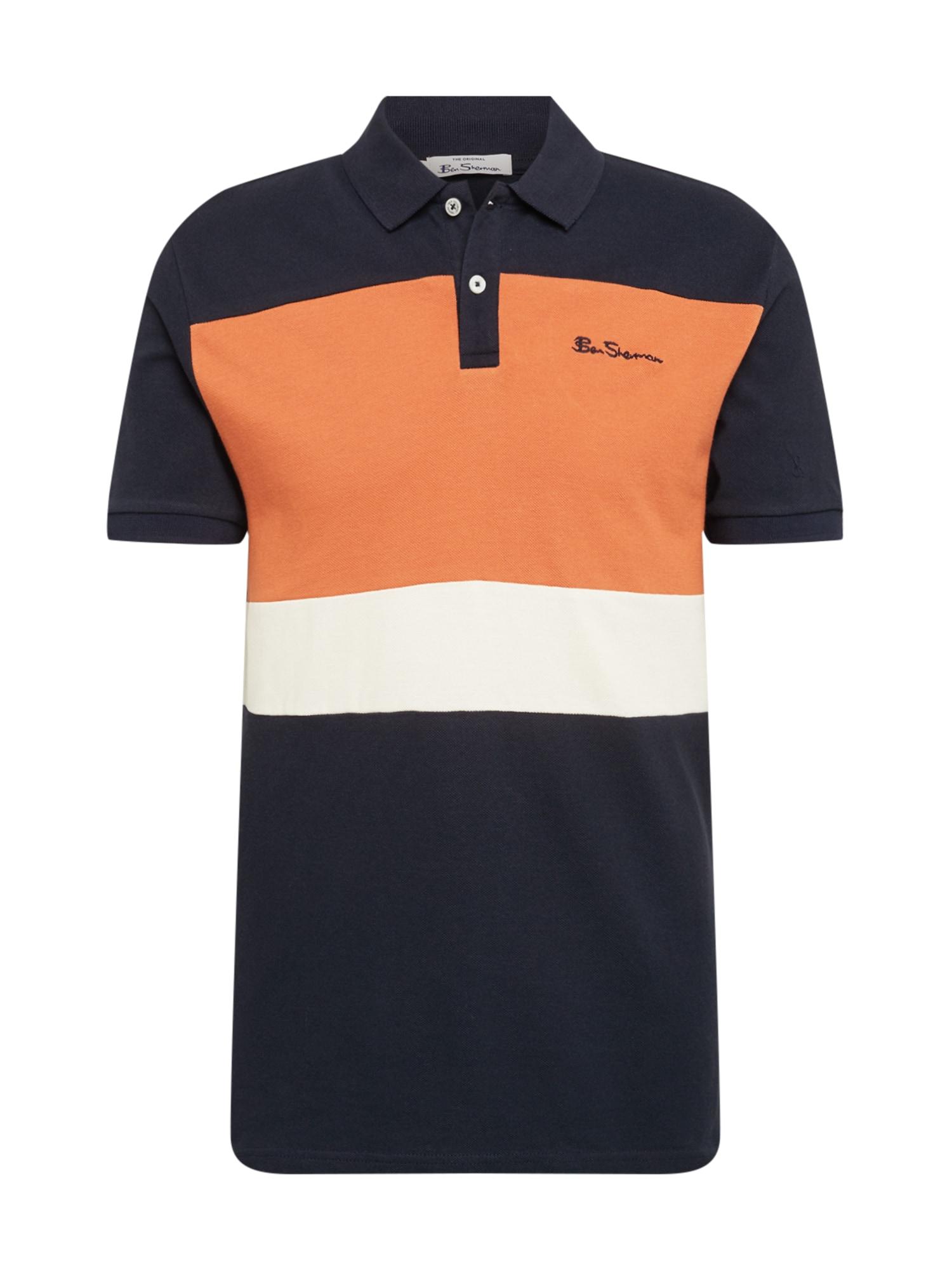 Ben Sherman Marškinėliai tamsiai mėlyna / oranžinė / balta