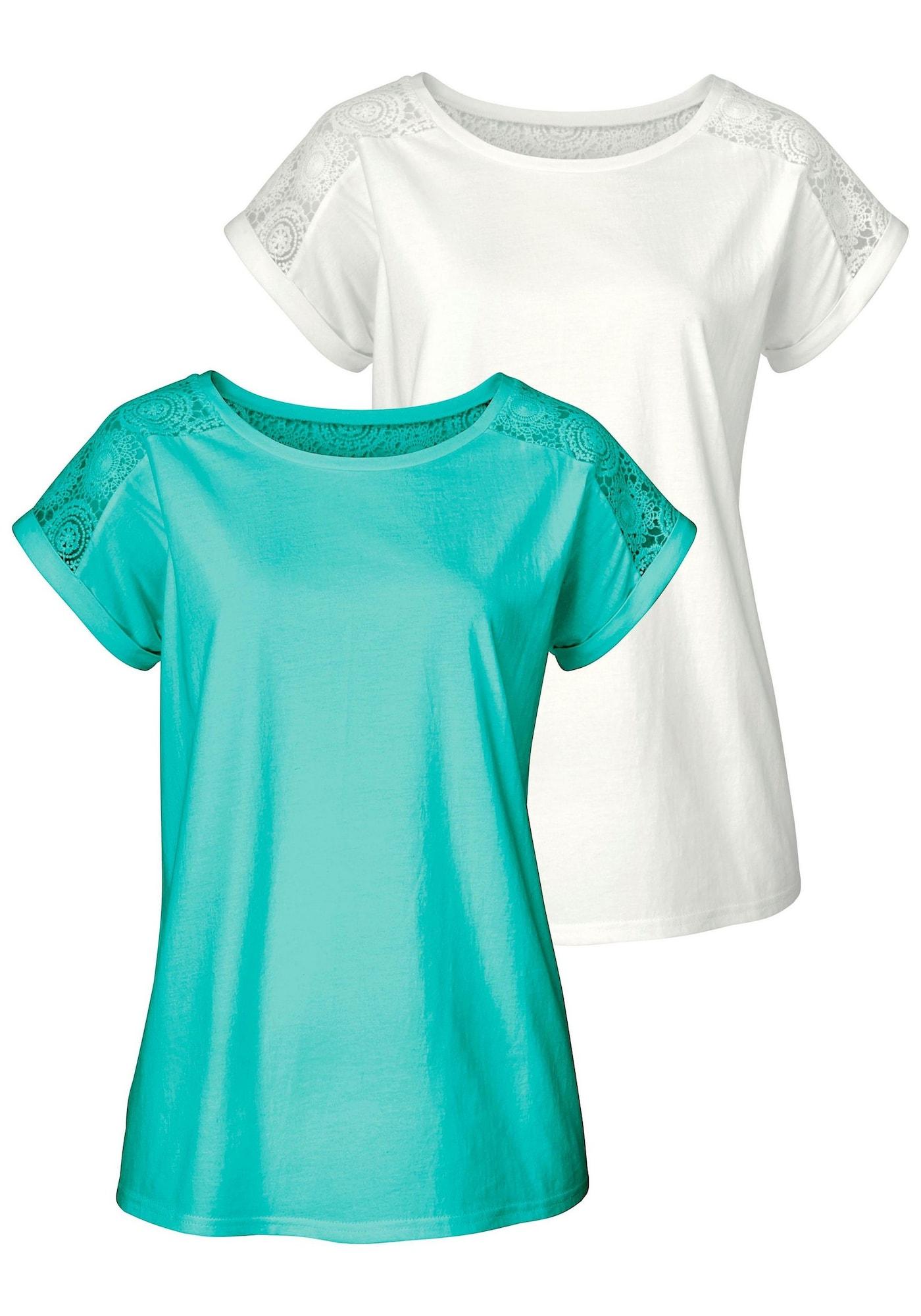 VIVANCE Marškinėliai natūrali balta / turkio spalva