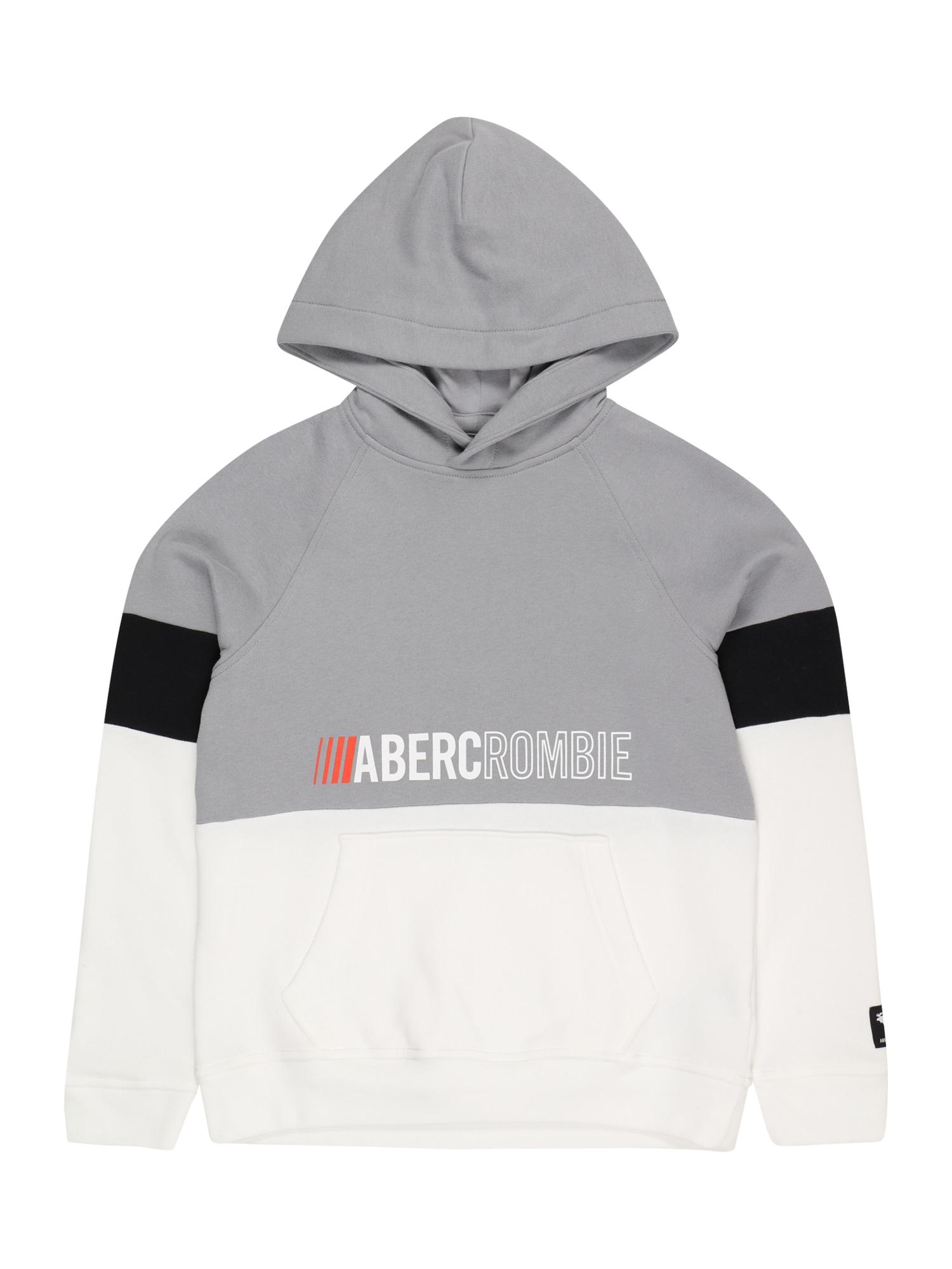 Abercrombie & Fitch Megztinis be užsegimo pilka / balta / juoda / raudona