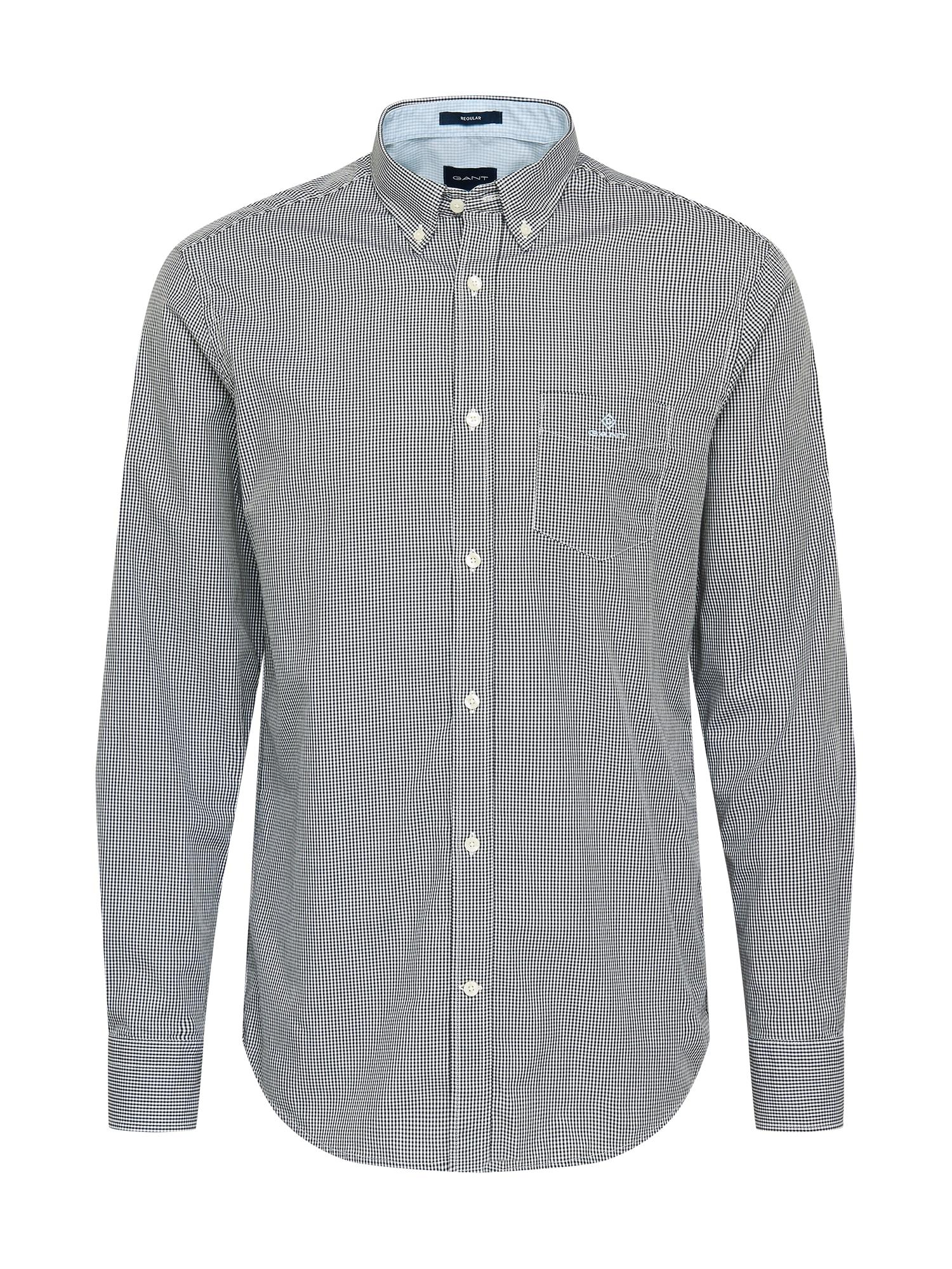 GANT Marškiniai juoda / balta / šviesiai pilka