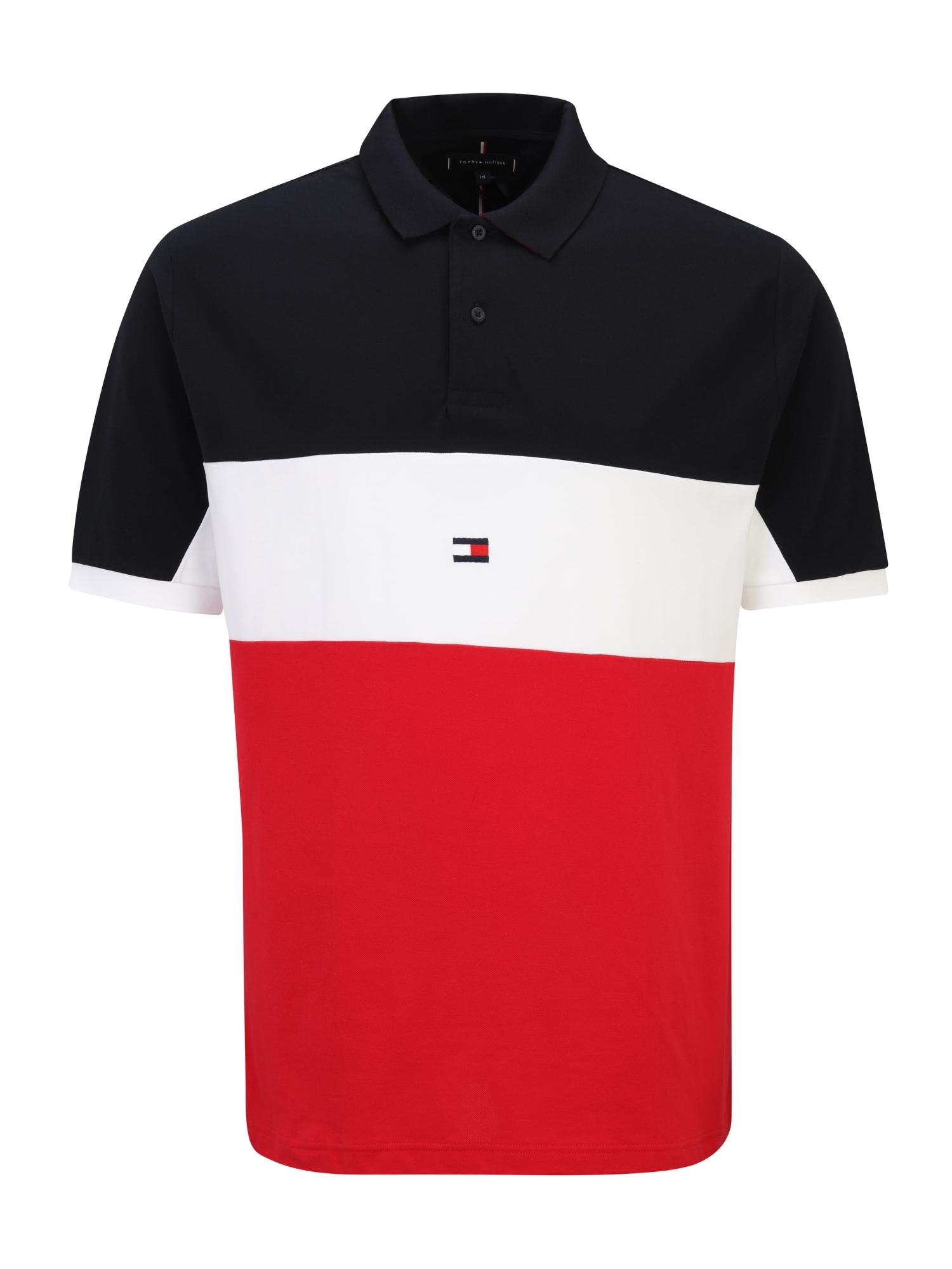 Tommy Hilfiger Big & Tall Marškinėliai ugnies raudona / balta / tamsiai mėlyna