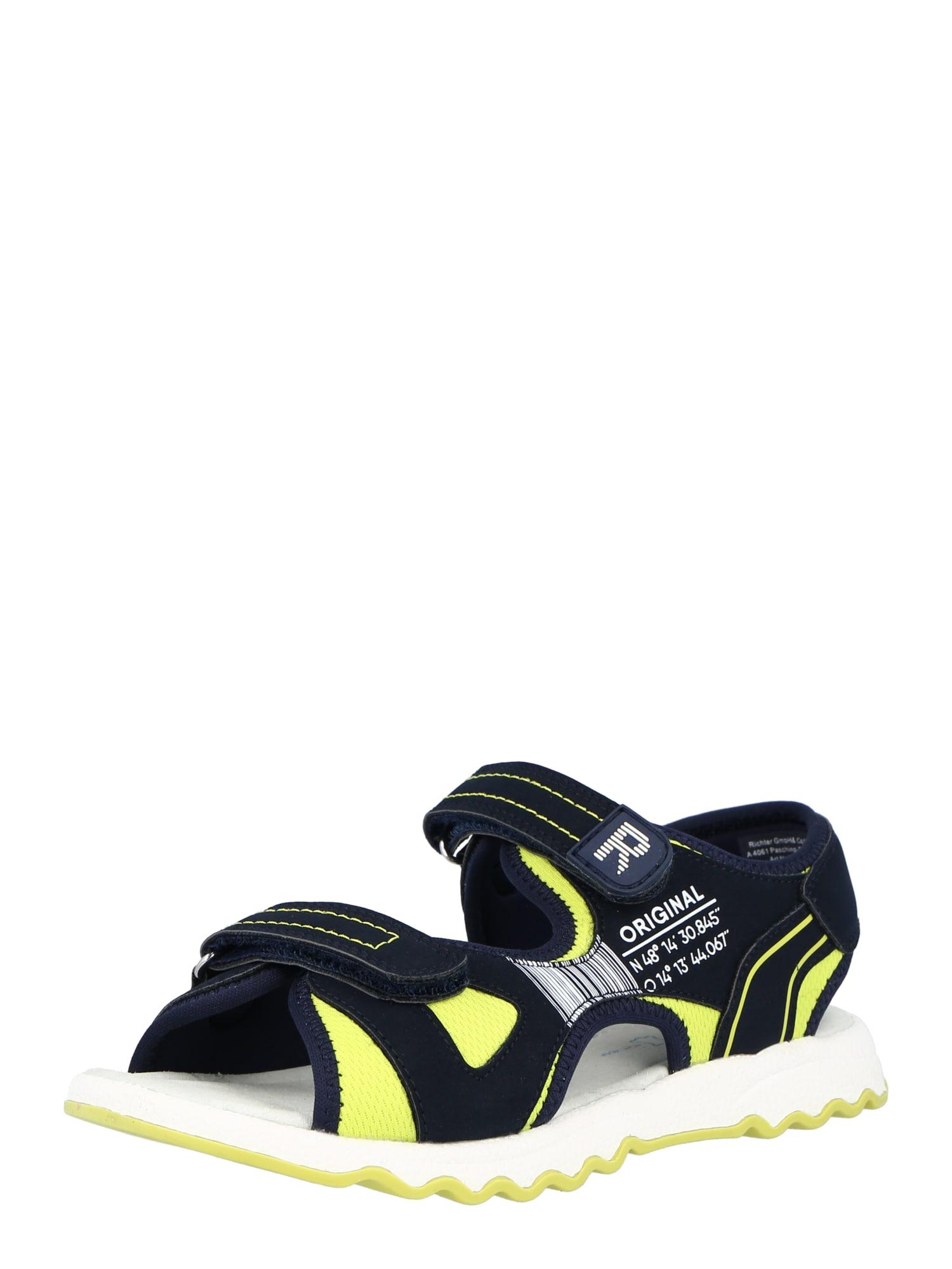 RICHTER Atviri batai mėlyna / neoninė geltona / balta