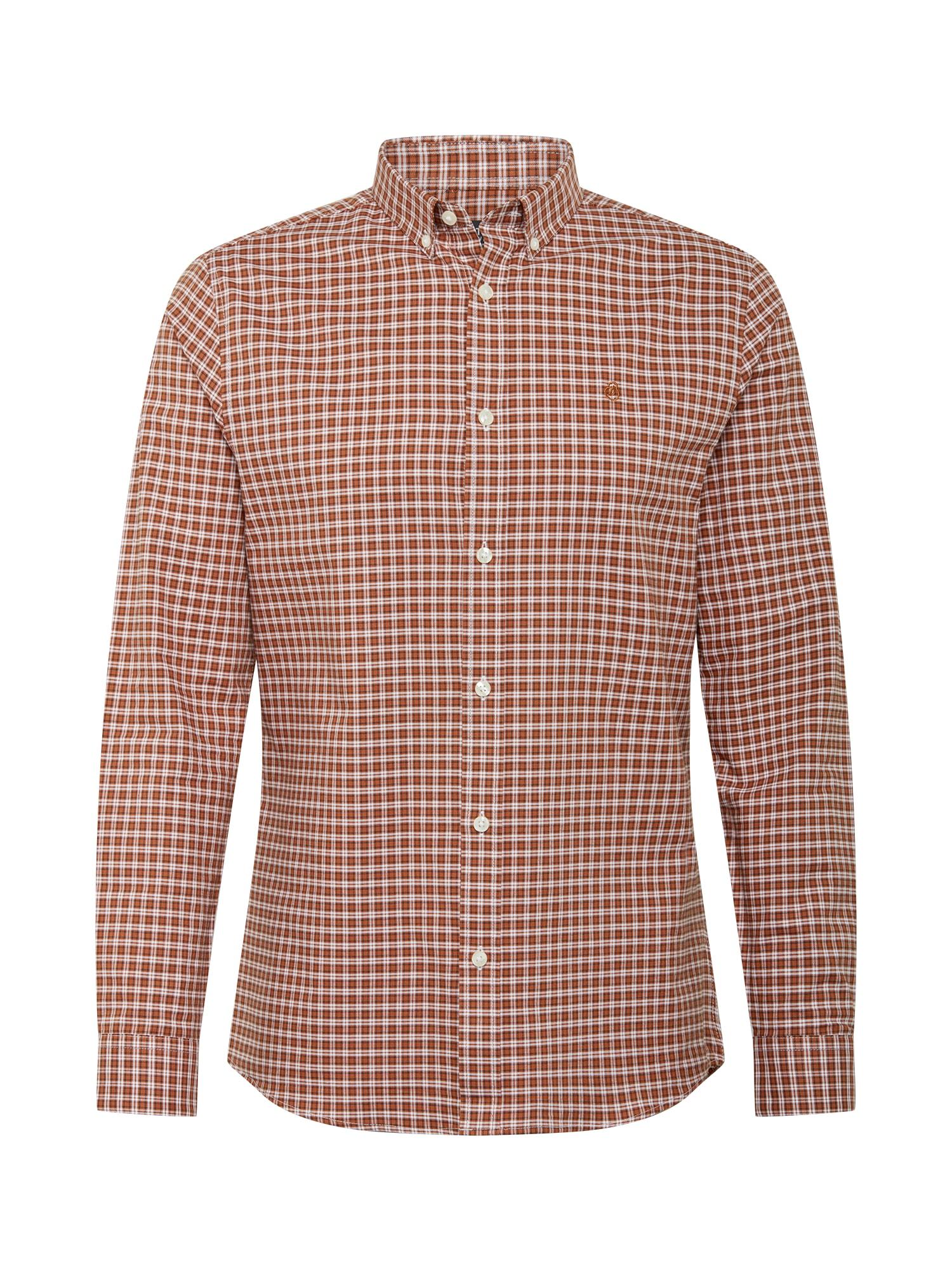 BURTON MENSWEAR LONDON Marškiniai ruda / balta / tamsiai ruda