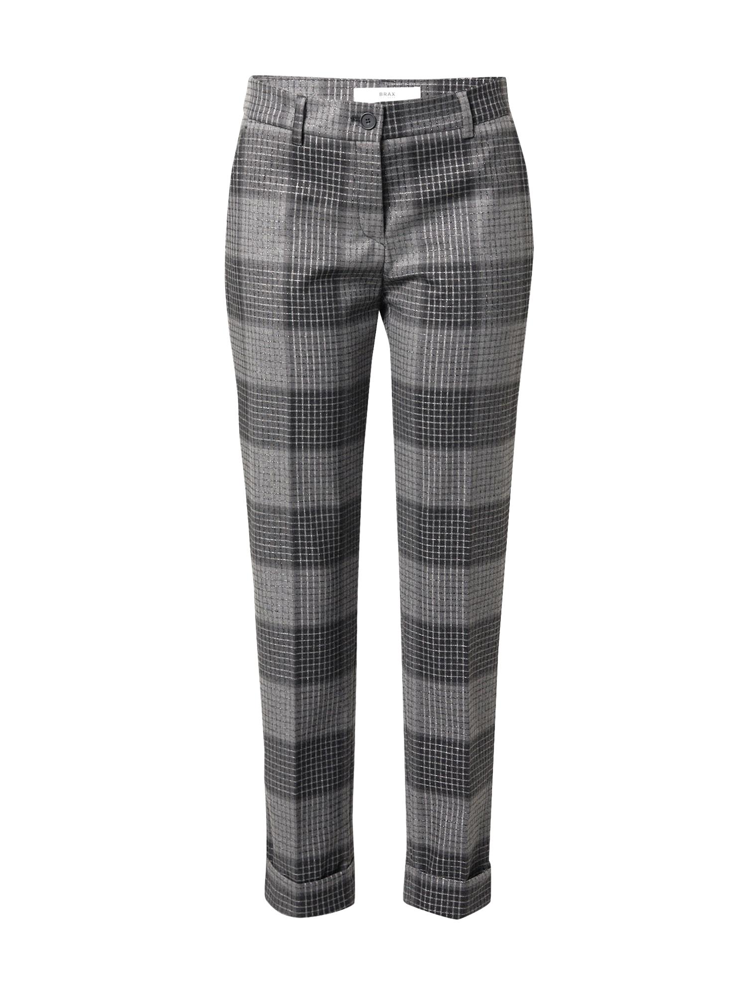 BRAX Kelnės su kantu tamsiai pilka / sidabro pilka