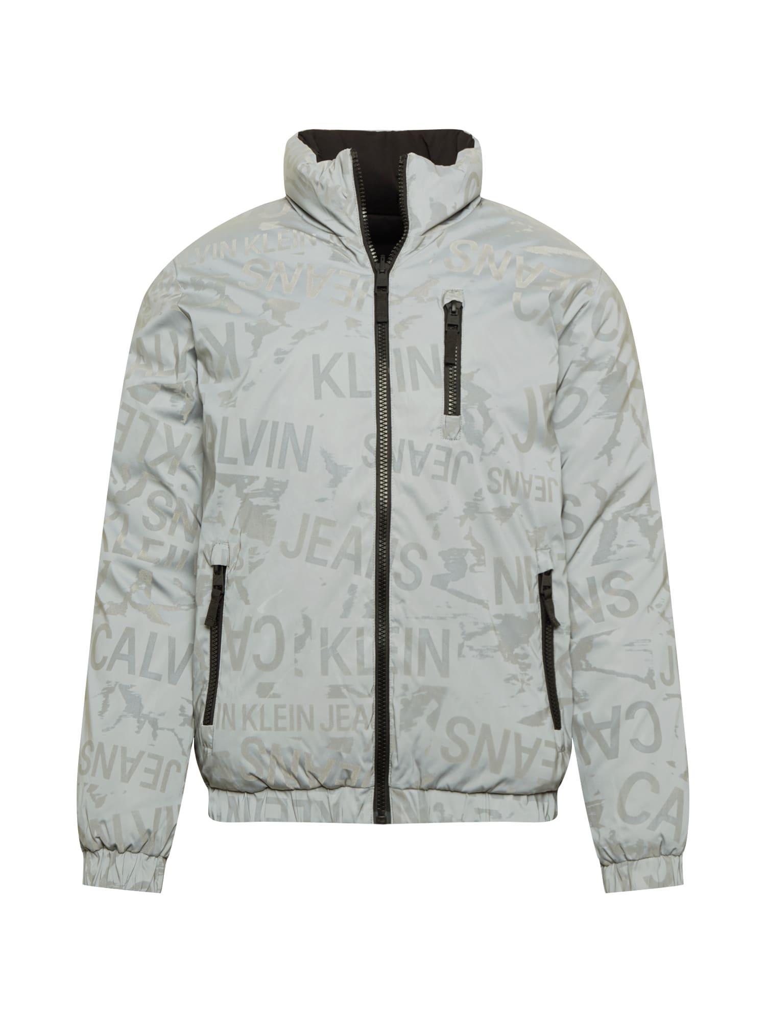 Calvin Klein Jeans Zimná bunda  čierna / sivá