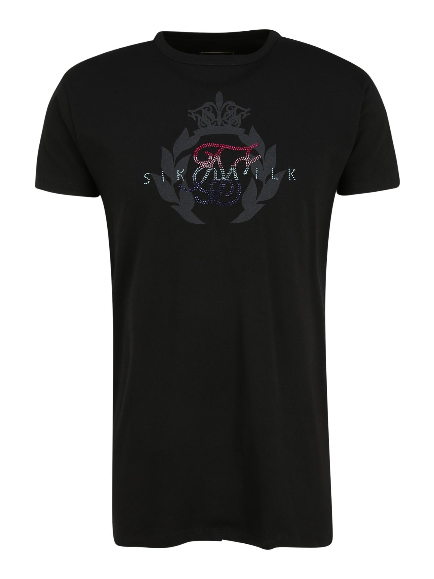 SikSilk Marškinėliai juoda / bazalto pilka / tamsiai mėlyna jūros spalva / rožinė
