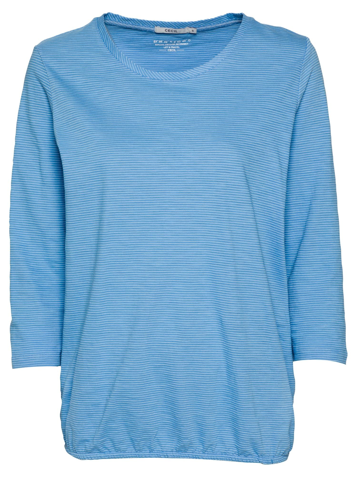 CECIL Marškinėliai dangaus žydra / balta