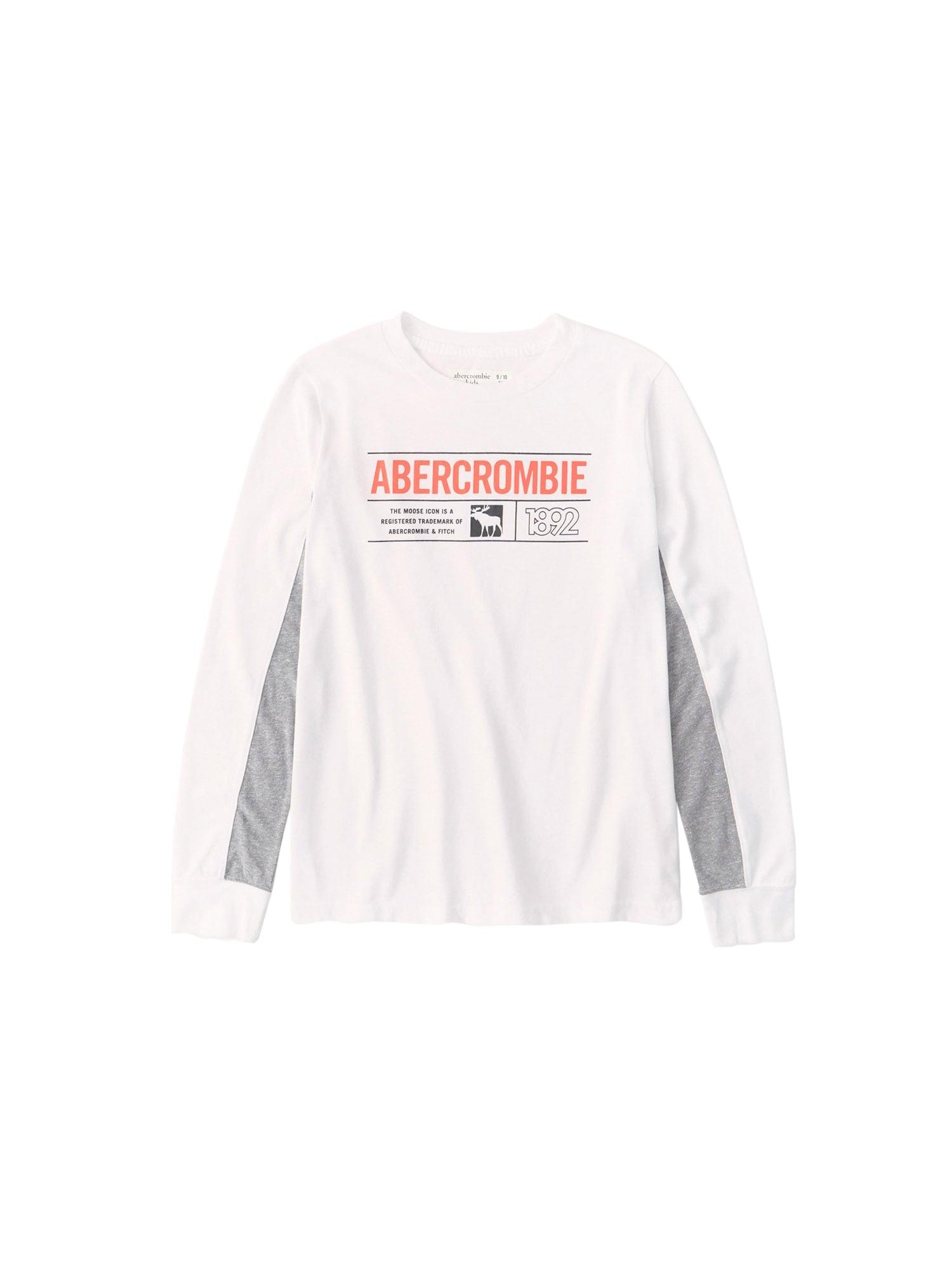 Abercrombie & Fitch Marškinėliai balta / pilka / šviesiai raudona