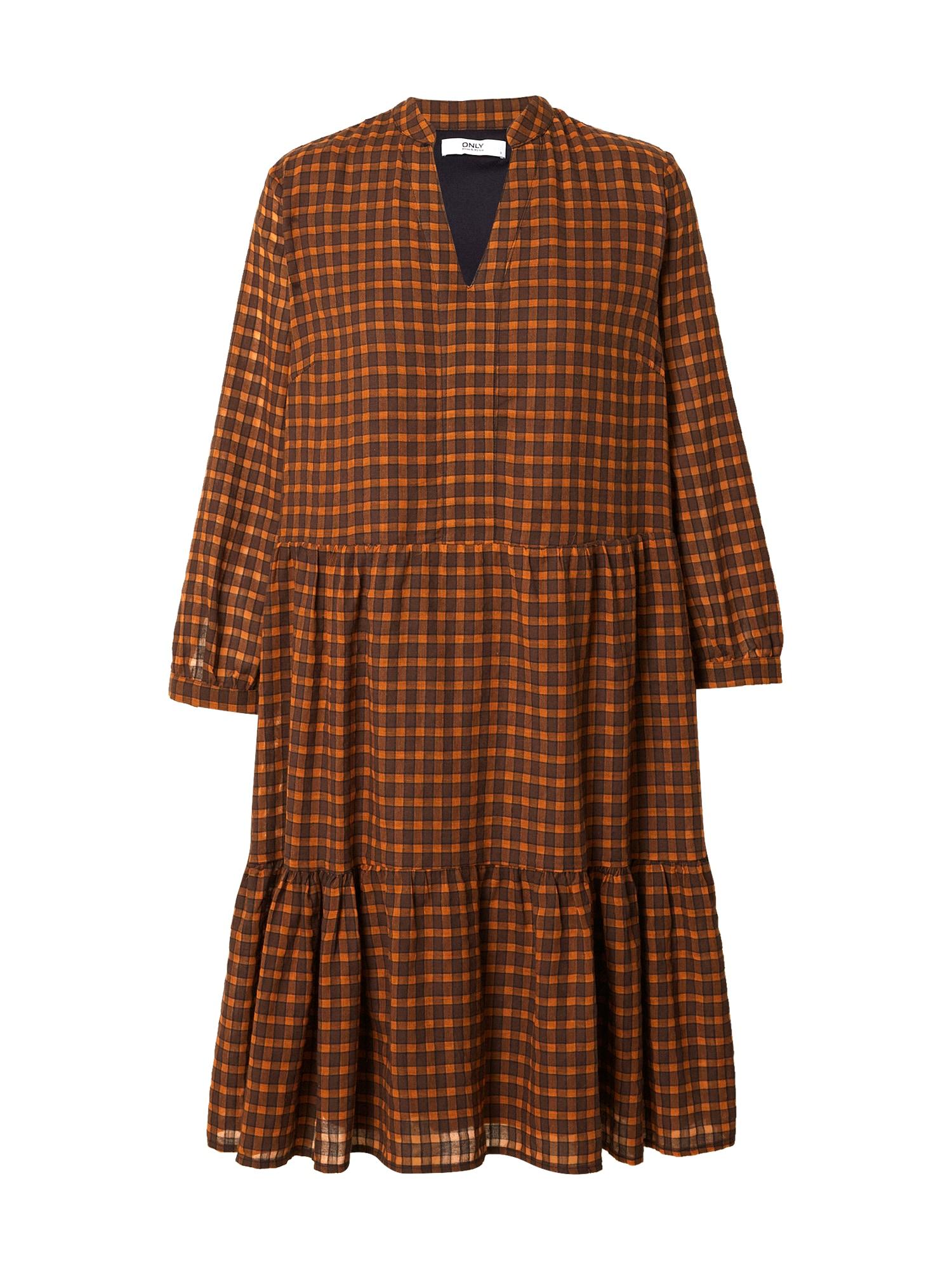 ONLY Košilové šaty 'Filia'  hnědá / oranžová