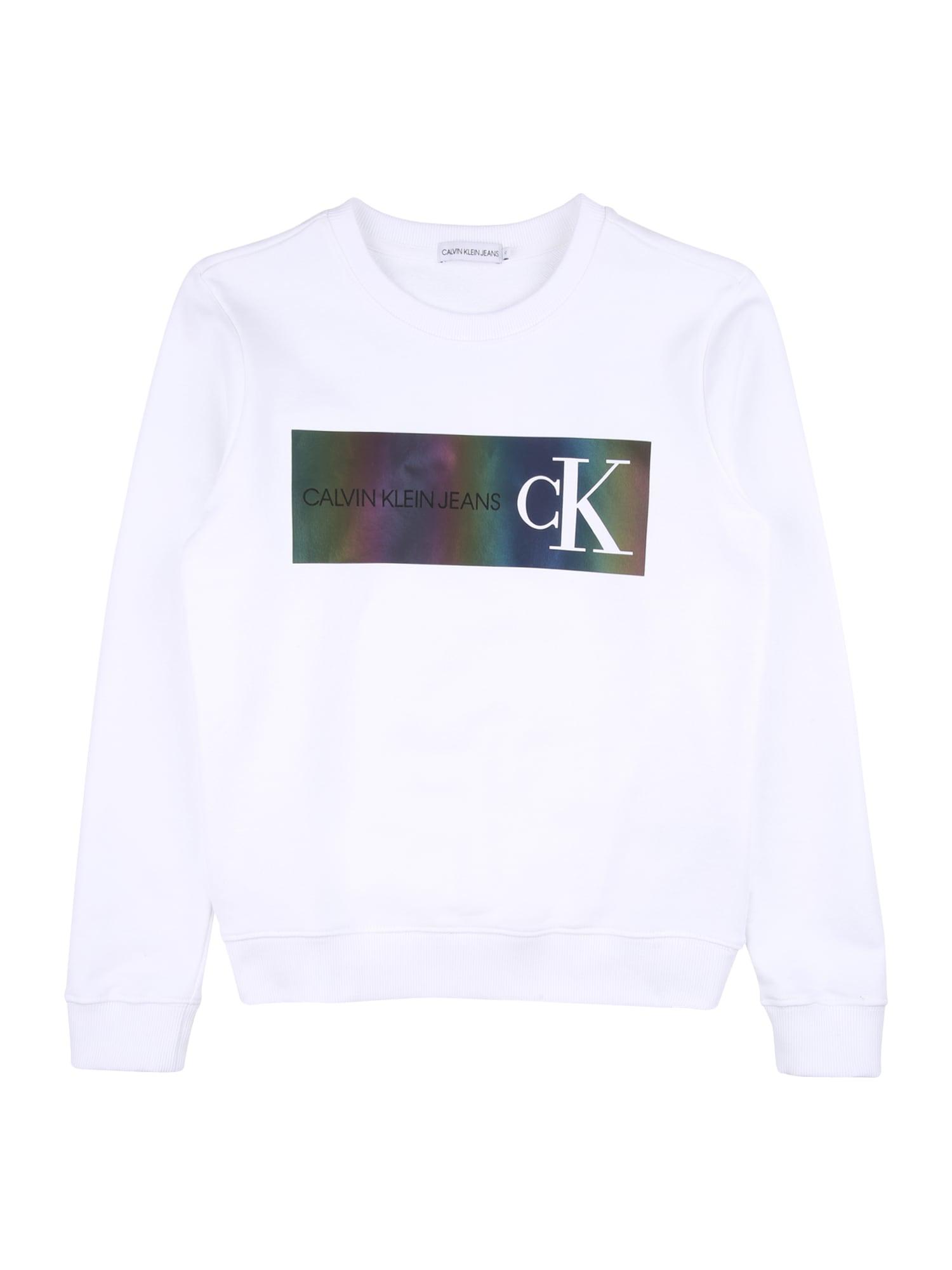 Calvin Klein Mikina  bílá / mix barev