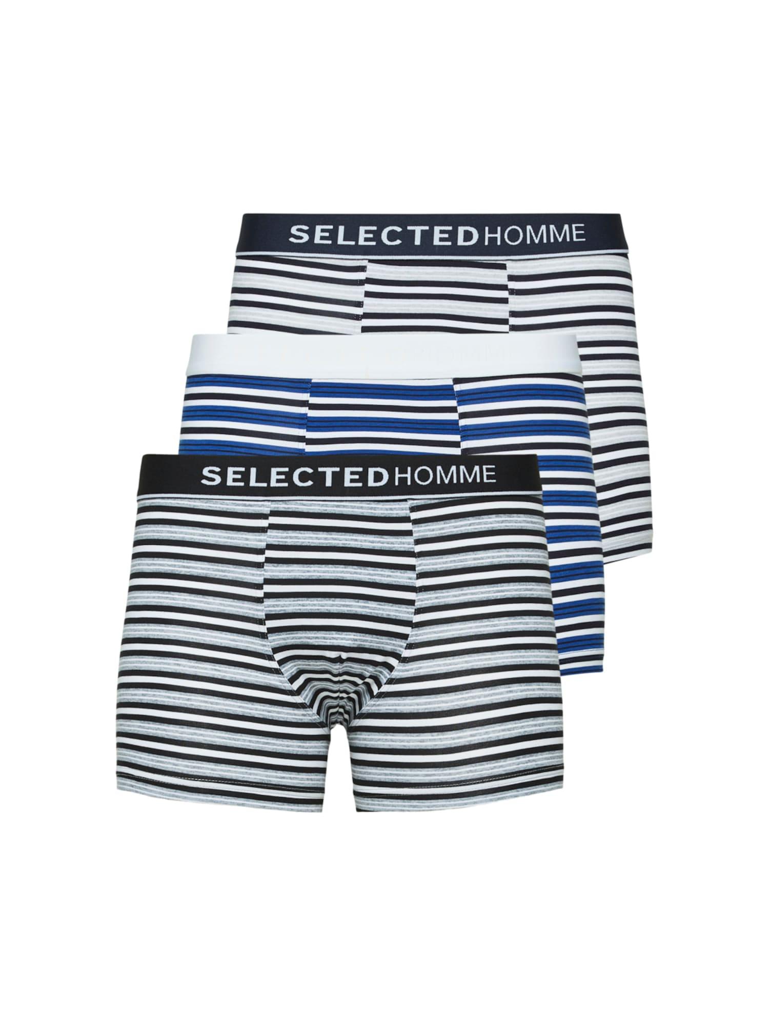 SELECTED HOMME Boxer trumpikės juoda / natūrali balta / šviesiai mėlyna