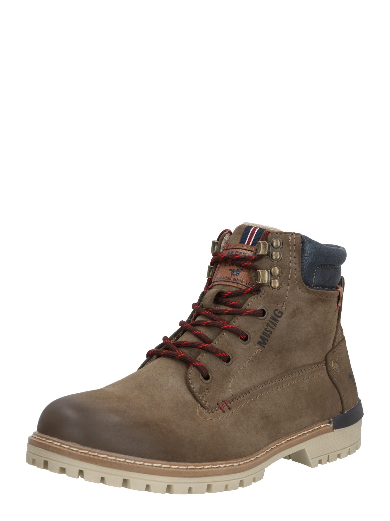 MUSTANG Auliniai batai su raišteliais ruda / tamsiai ruda