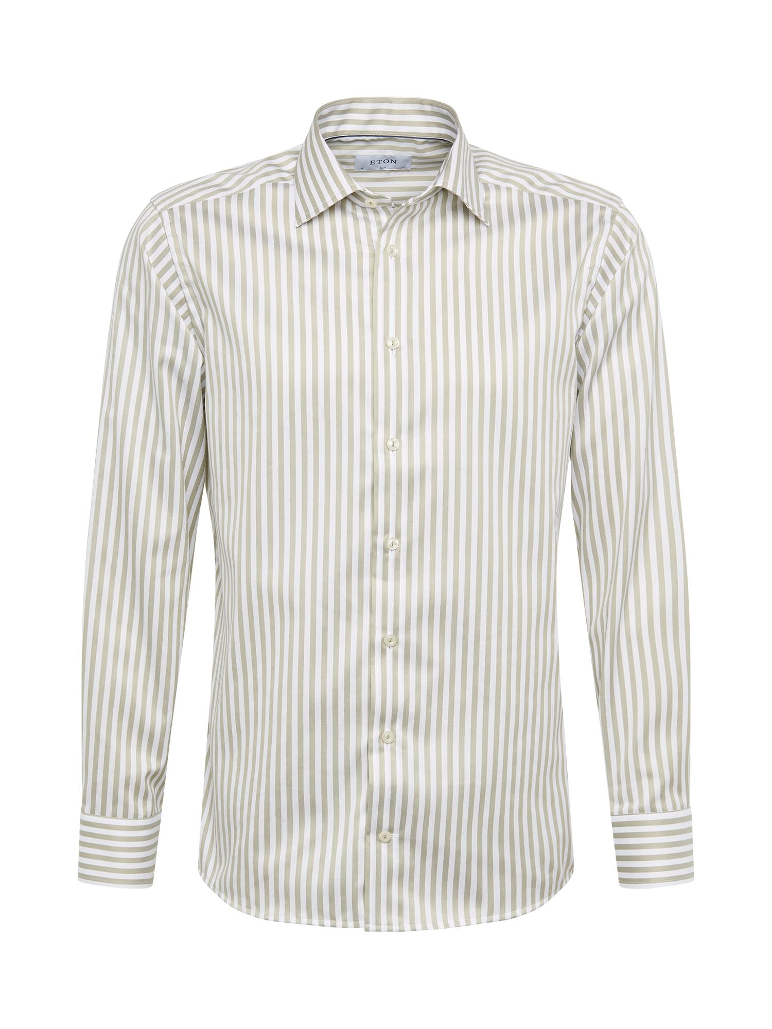 ETON Marškiniai balta / rusvai žalia
