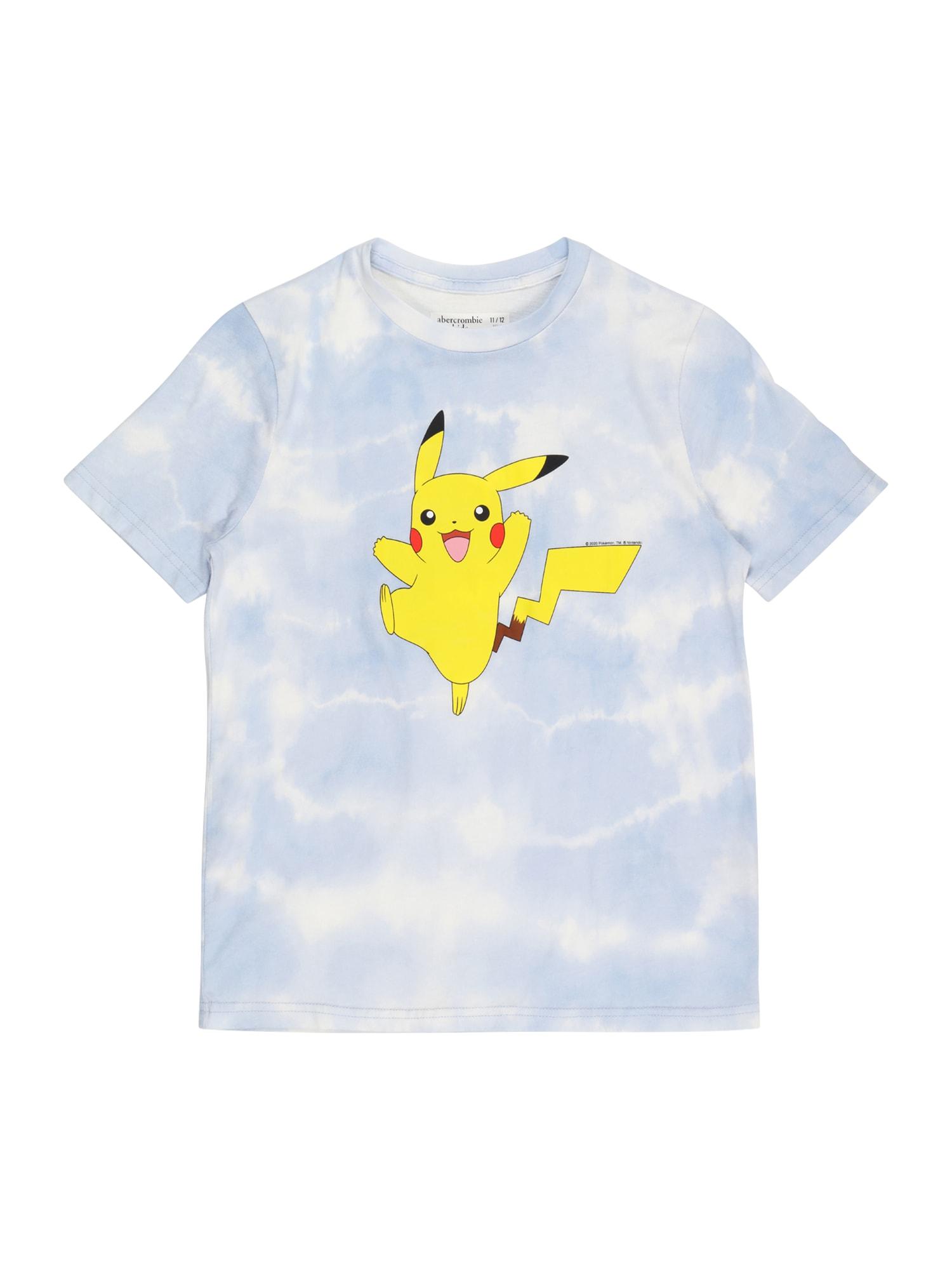 Abercrombie & Fitch Marškinėliai šviesiai mėlyna / balta / geltona / juoda / ruda