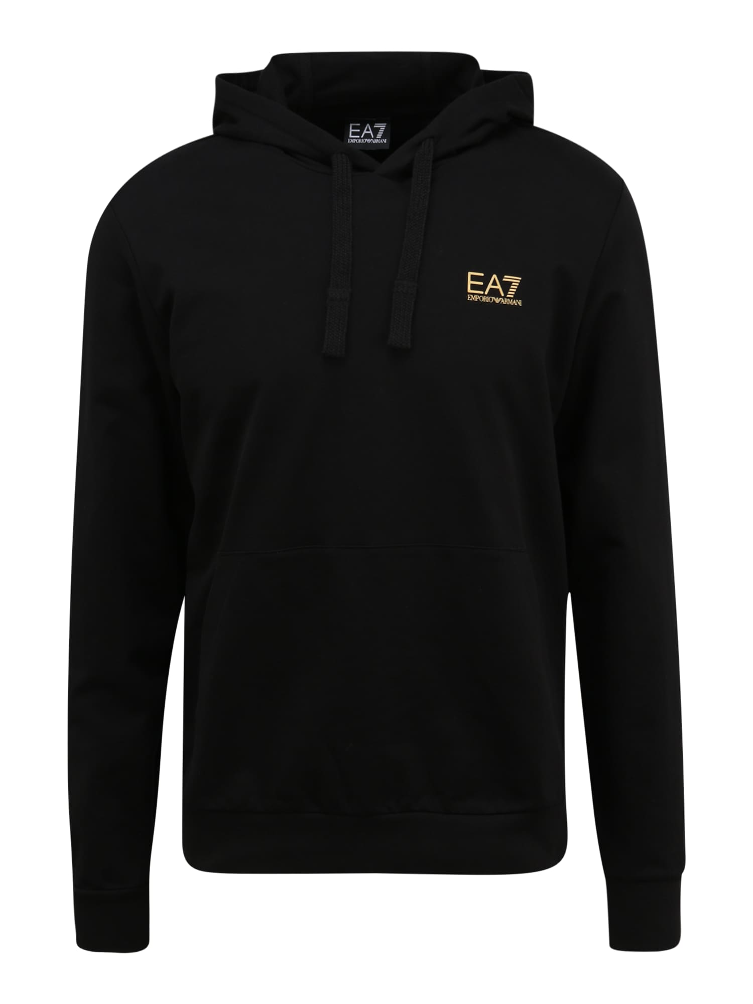 EA7 Emporio Armani Megztinis be užsegimo juoda / aukso geltonumo spalva