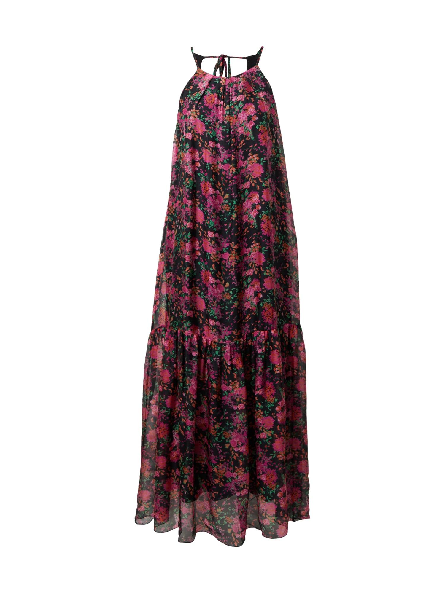 FRNCH PARIS Suknelė juoda / fuksijų spalva / tamsiai oranžinė / žalia