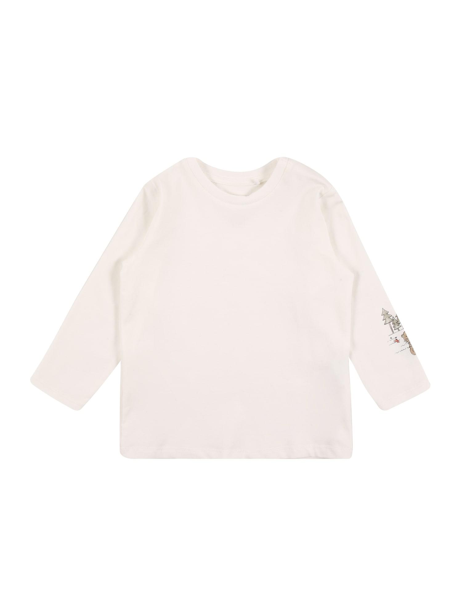 NAME IT Marškinėliai 'BODAR' balta / alyvuogių spalva / tamsi smėlio