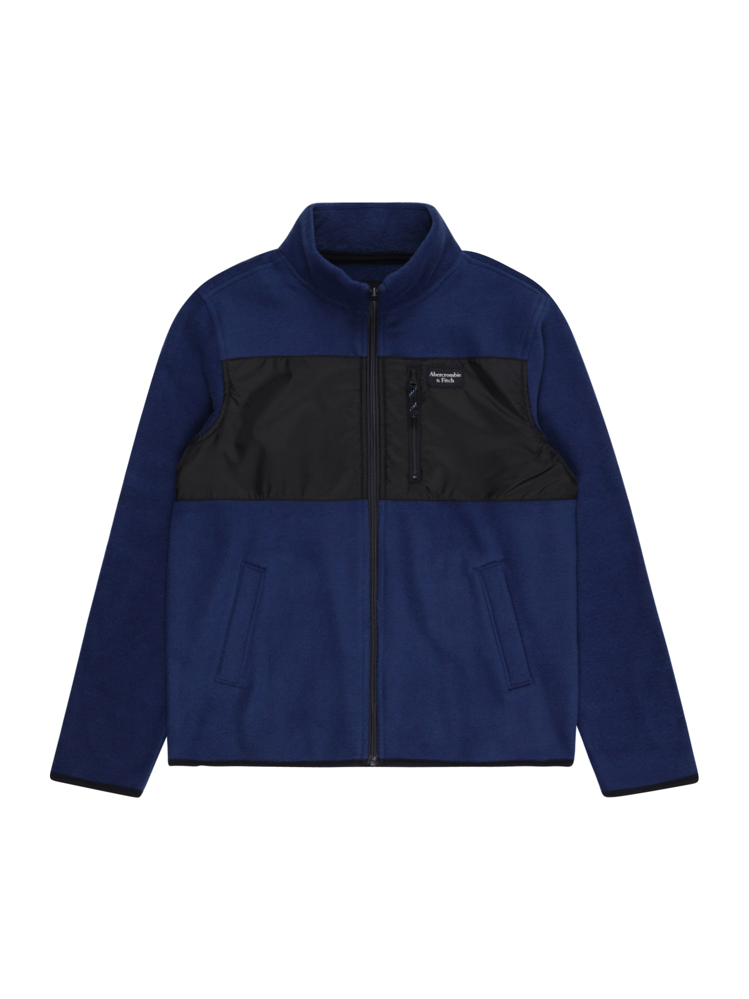 Abercrombie & Fitch Flisinis džemperis tamsiai mėlyna / juoda