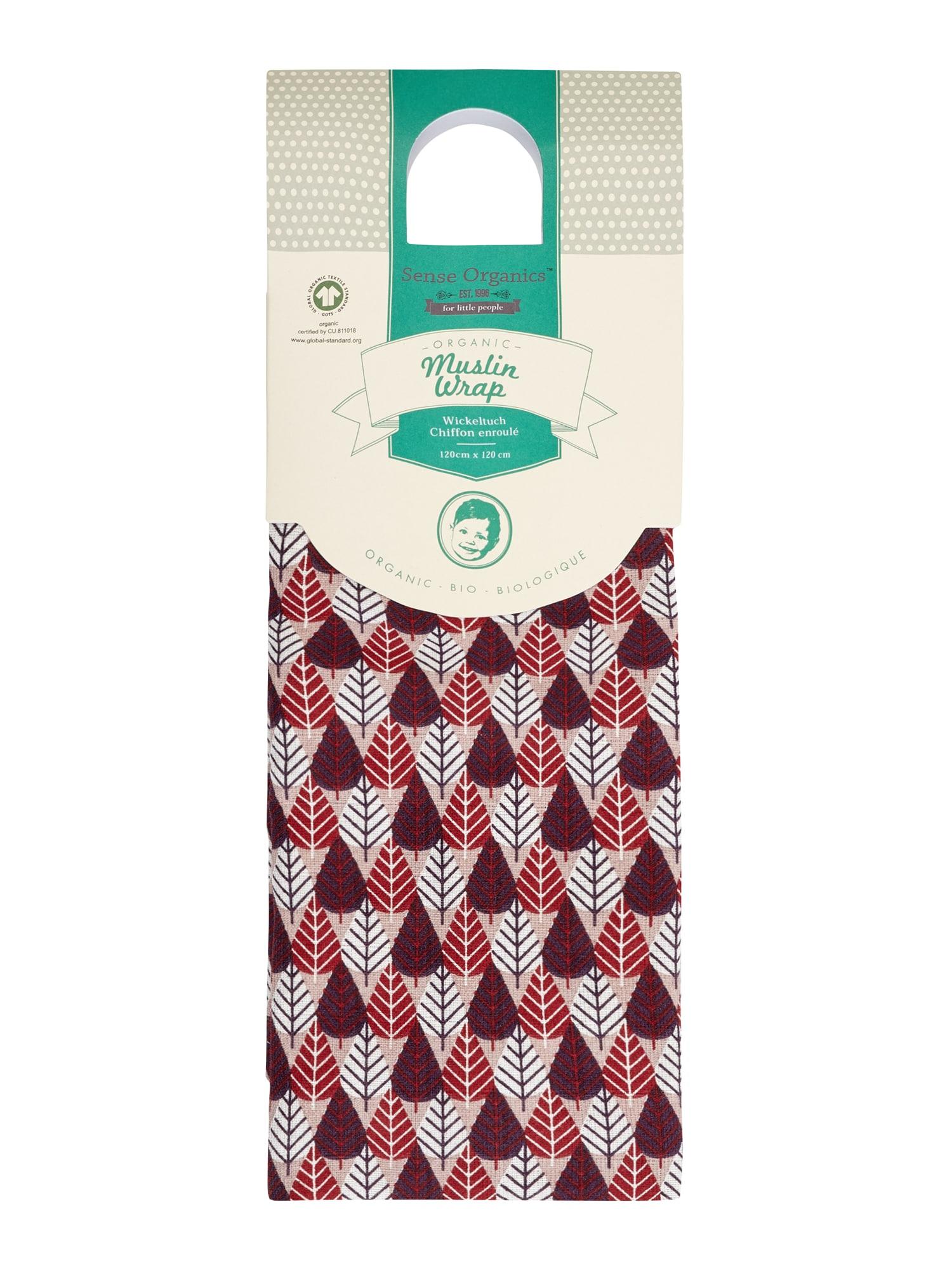 Sense Organics Plína 'VITA Muslin Wrap, 120x120'  tmavě červená