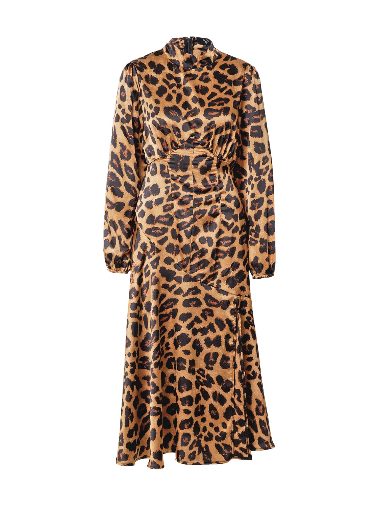 AX Paris Suknelė šviesiai ruda / ruda / juoda