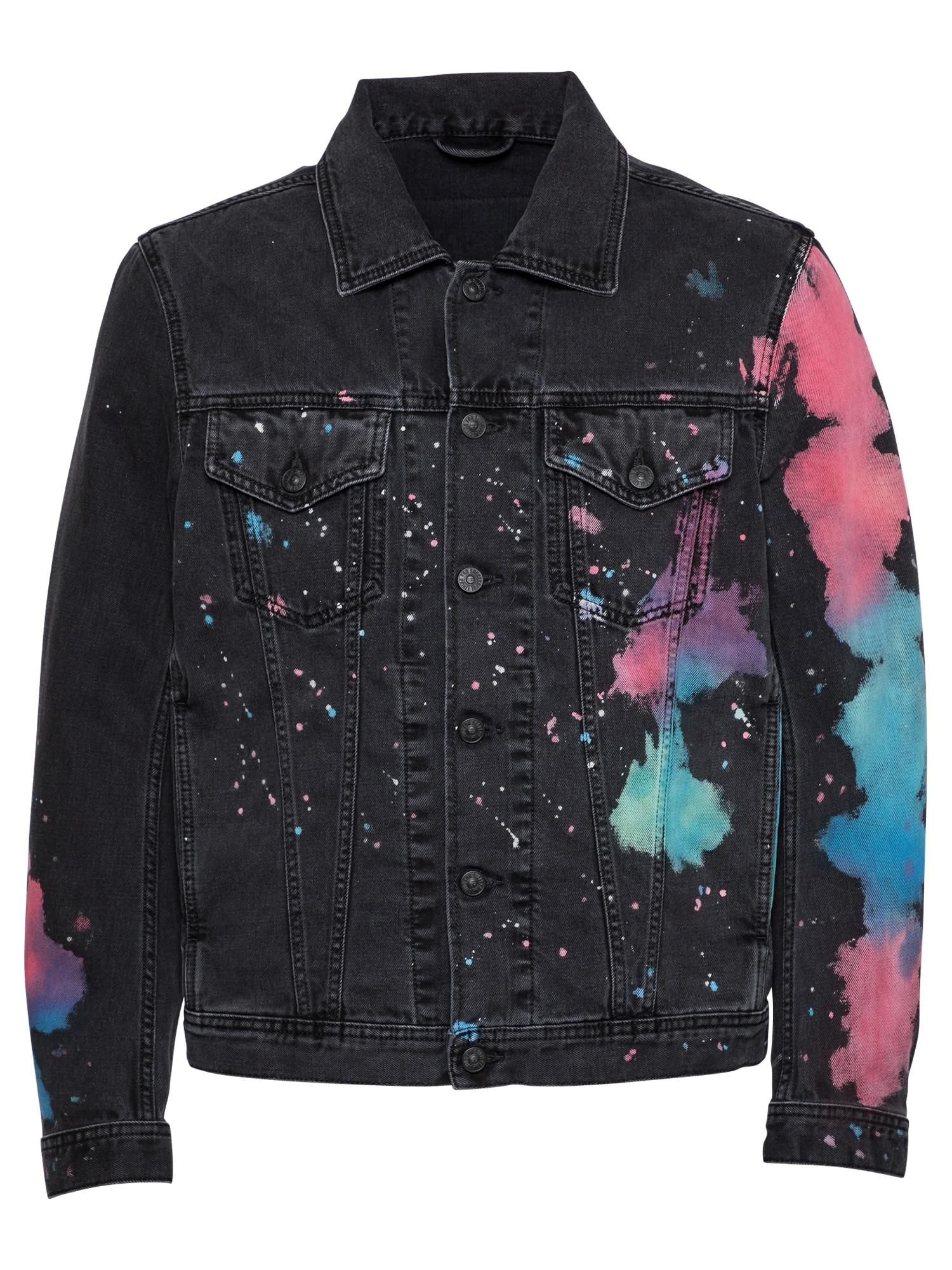 DIESEL Demisezoninė striukė juoda / mišrios spalvos / mėlyna / rožinė