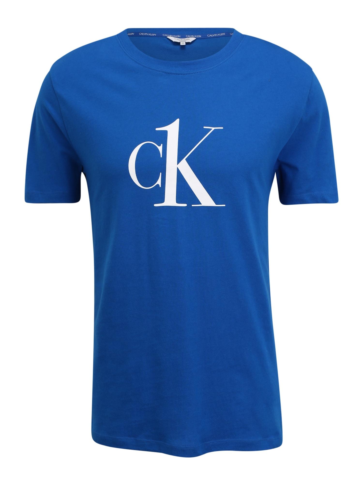 Calvin Klein Swimwear Marškinėliai mėlyna / balta