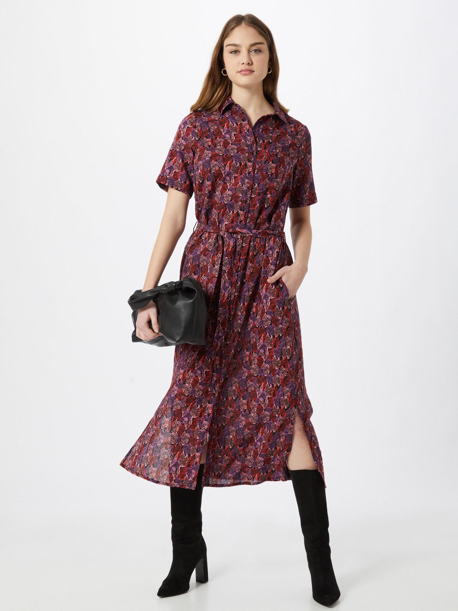 FRNCH PARIS Košeľové šaty  fialová / ružová / červená / čierna.