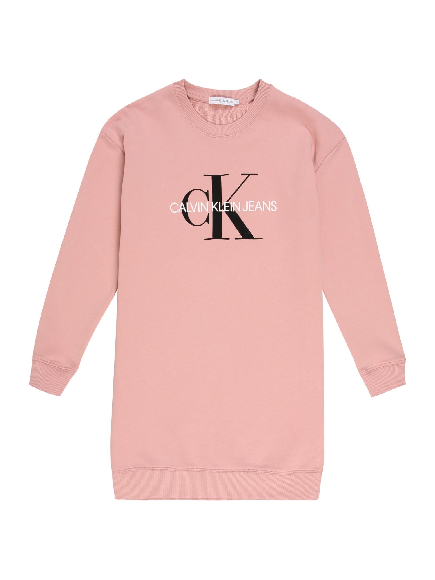 Calvin Klein Jeans Suknelė ryškiai rožinė spalva / balta / juoda