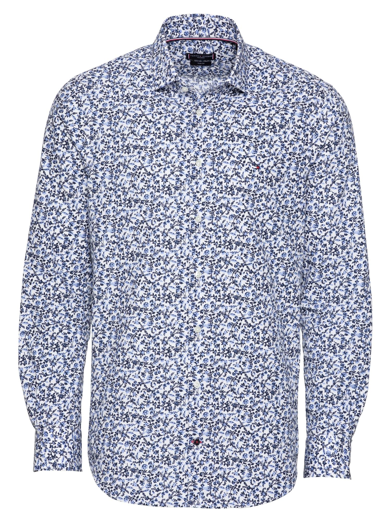 Tommy Hilfiger Tailored Marškiniai balta / tamsiai mėlyna / šviesiai mėlyna / raudona