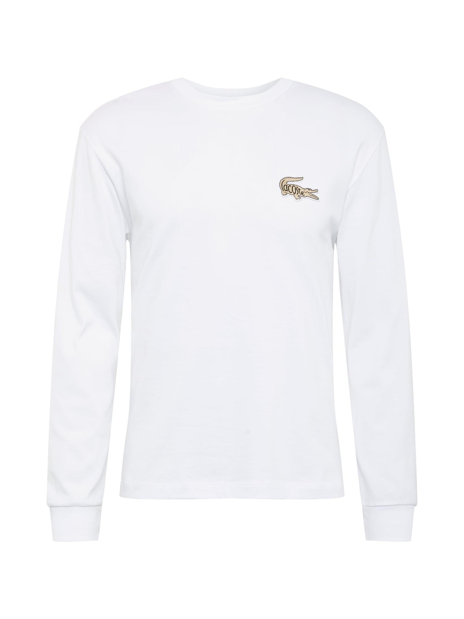 LACOSTE Marškinėliai balta / šviesiai ruda