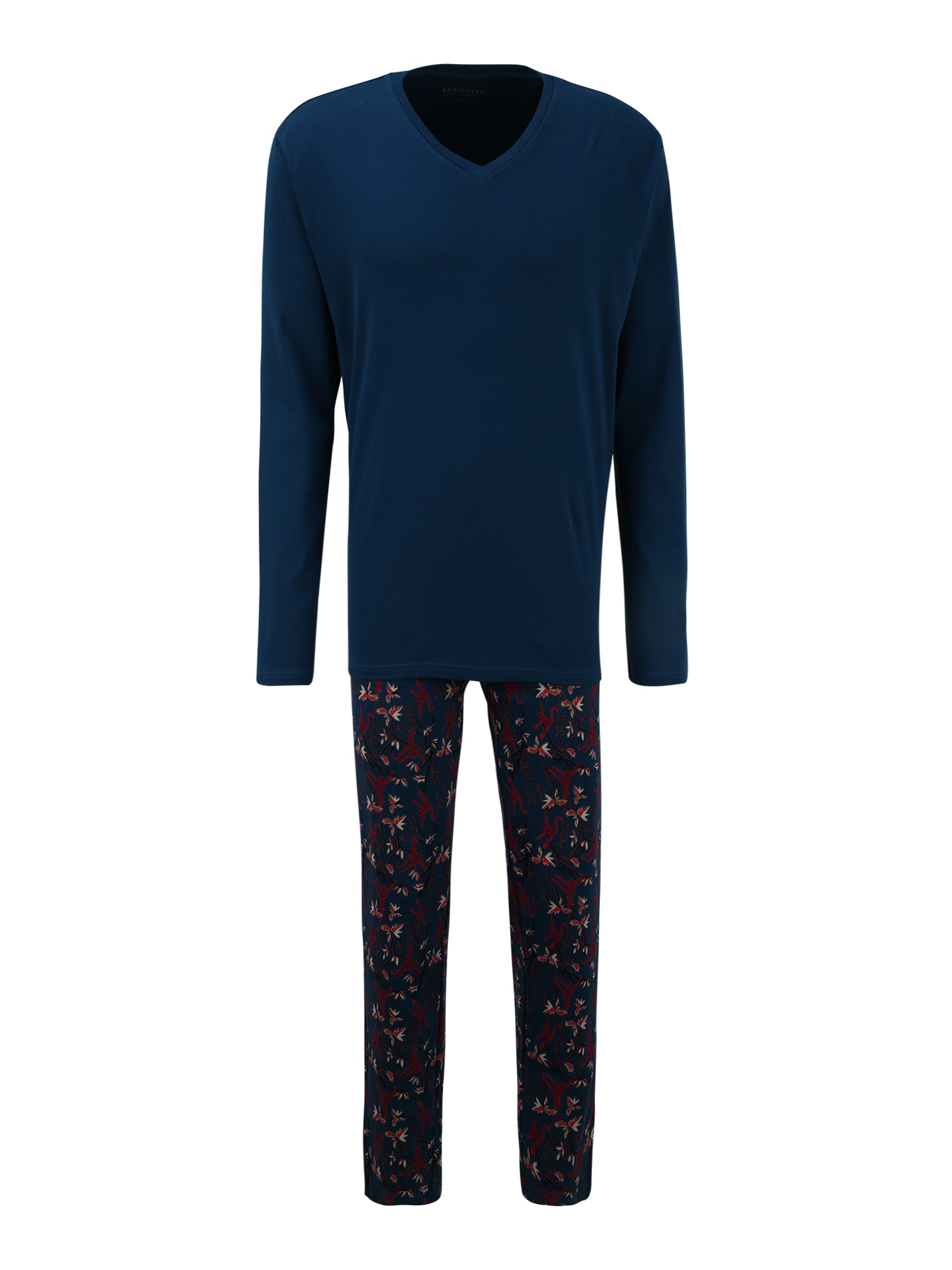 SCHIESSER Ilga pižama juoda / tamsiai mėlyna / karmino raudona / melionų spalva