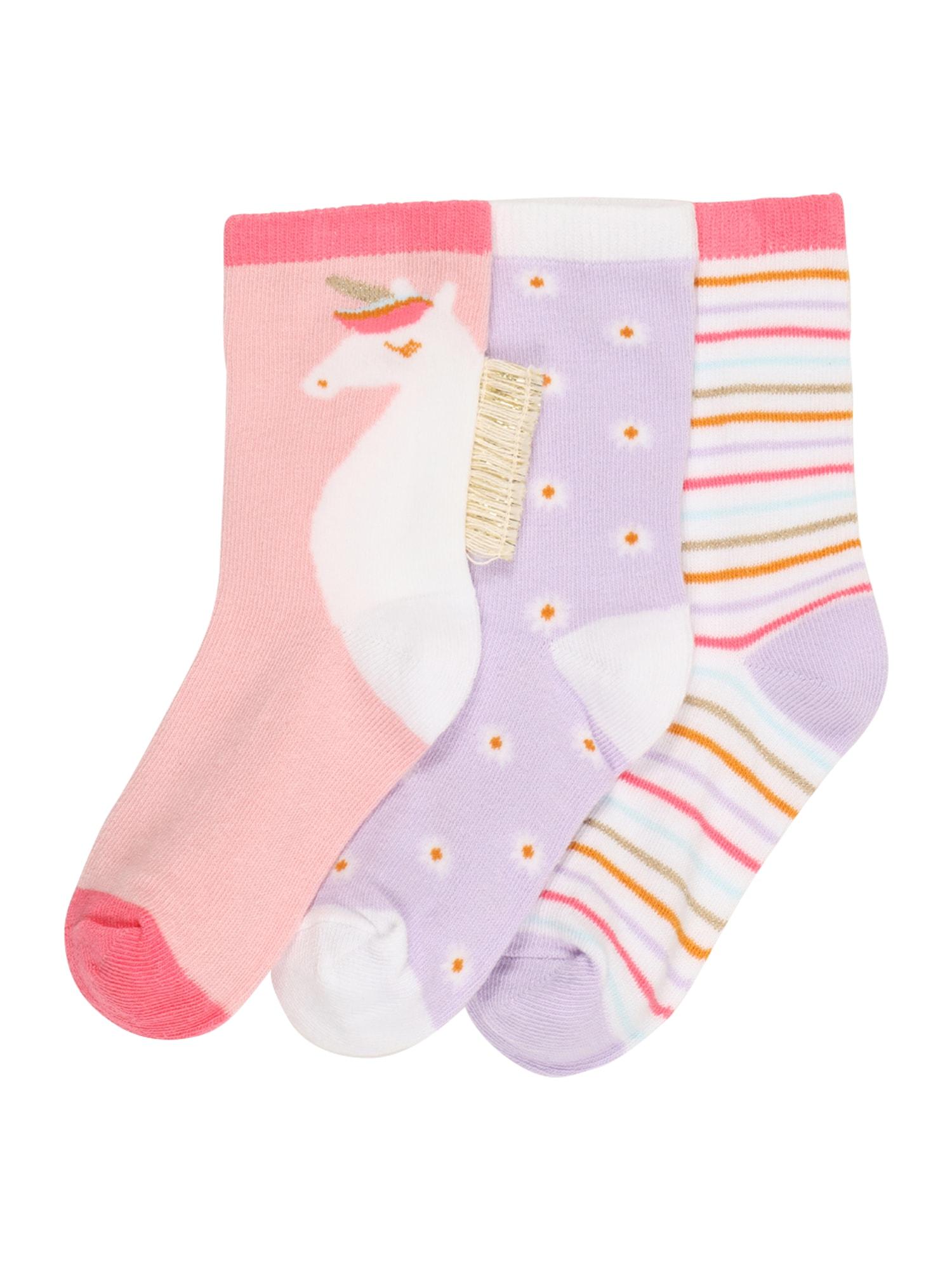 Cotton On Kojinės šviesiai rožinė / šviesiai violetinė / tamsiai oranžinė