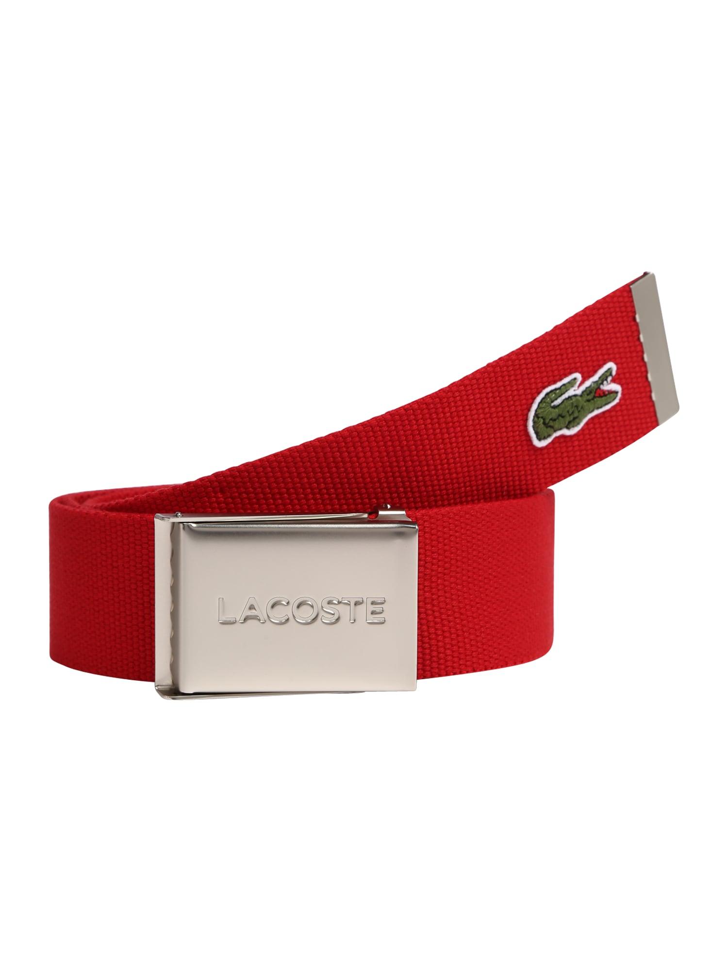 LACOSTE Diržas raudona / alyvuogių spalva / balta