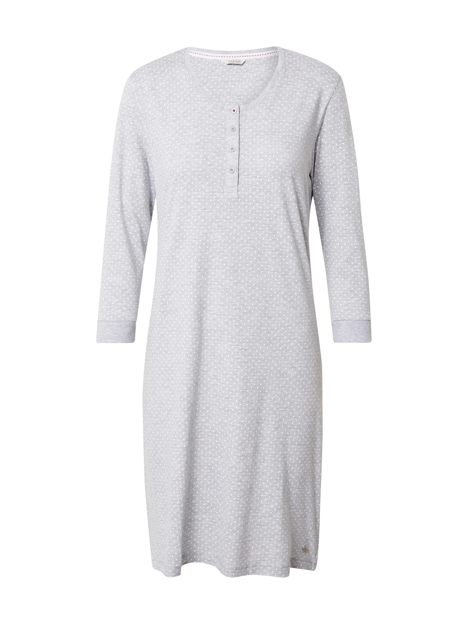 ESPRIT Noční košilka 'JORDYN'  světle šedá / bílá