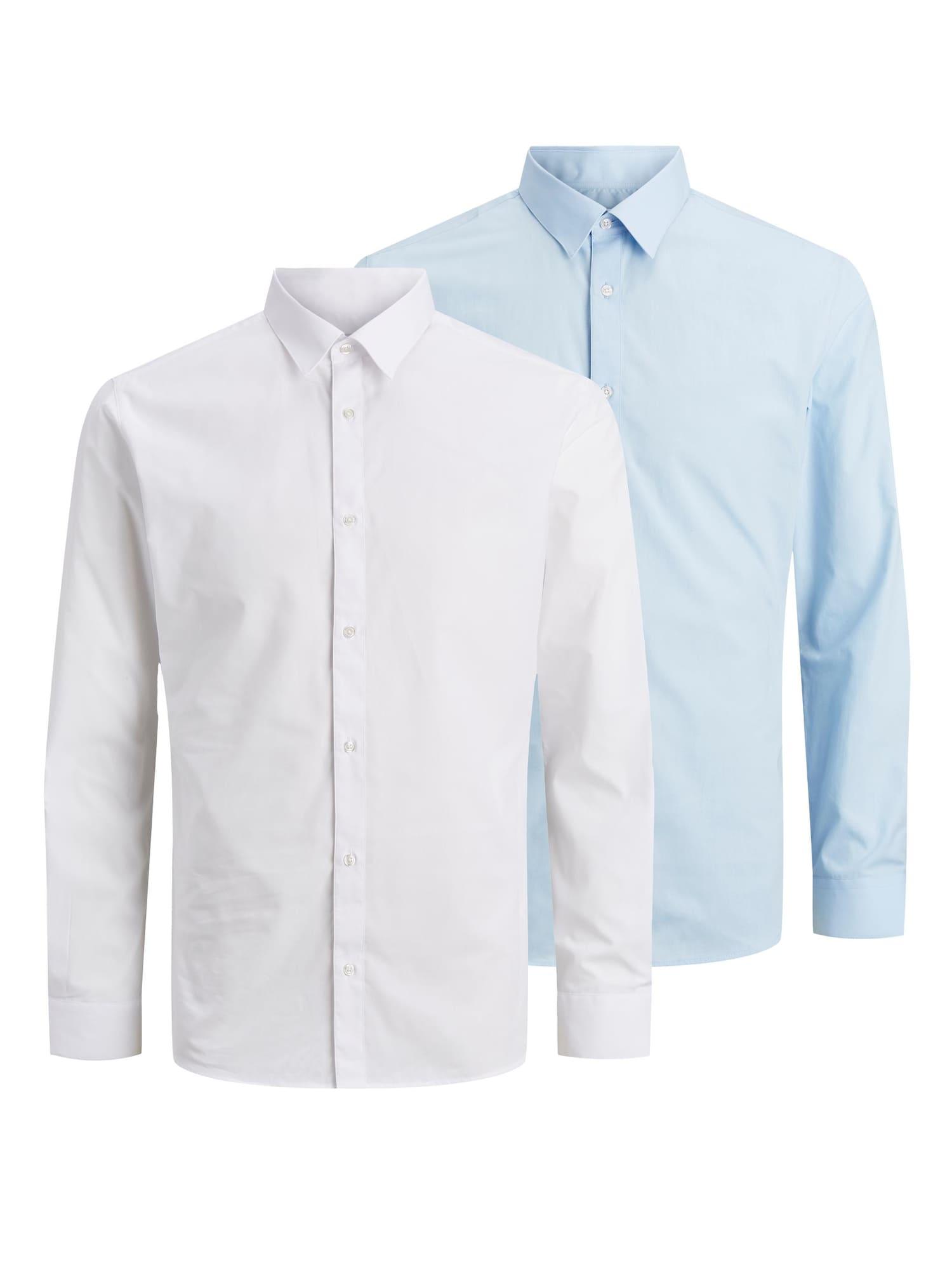 JACK & JONES Dalykinio stiliaus marškiniai balta / šviesiai mėlyna