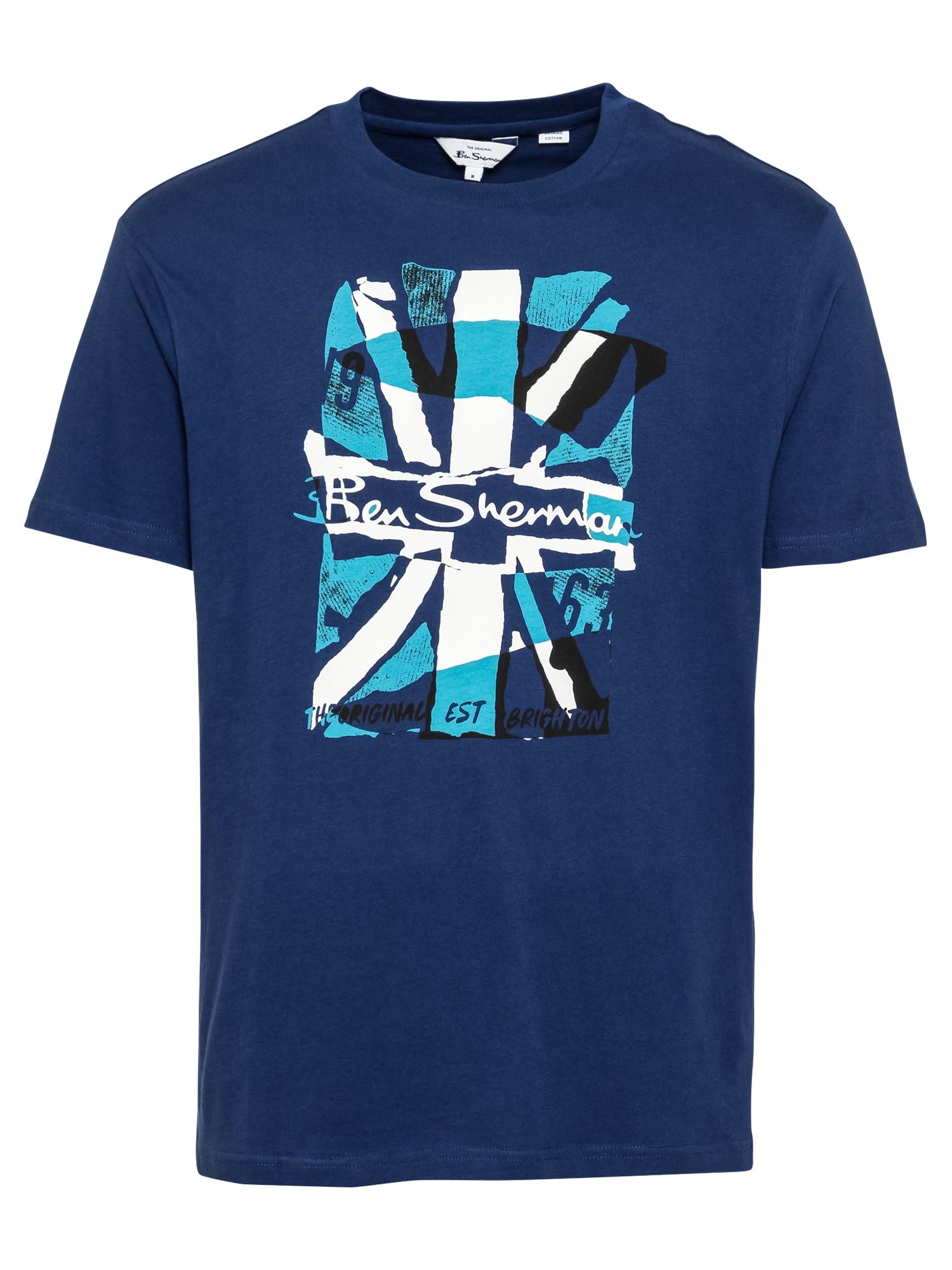 Ben Sherman Marškinėliai mėlyna / balta / žalsvai mėlyna