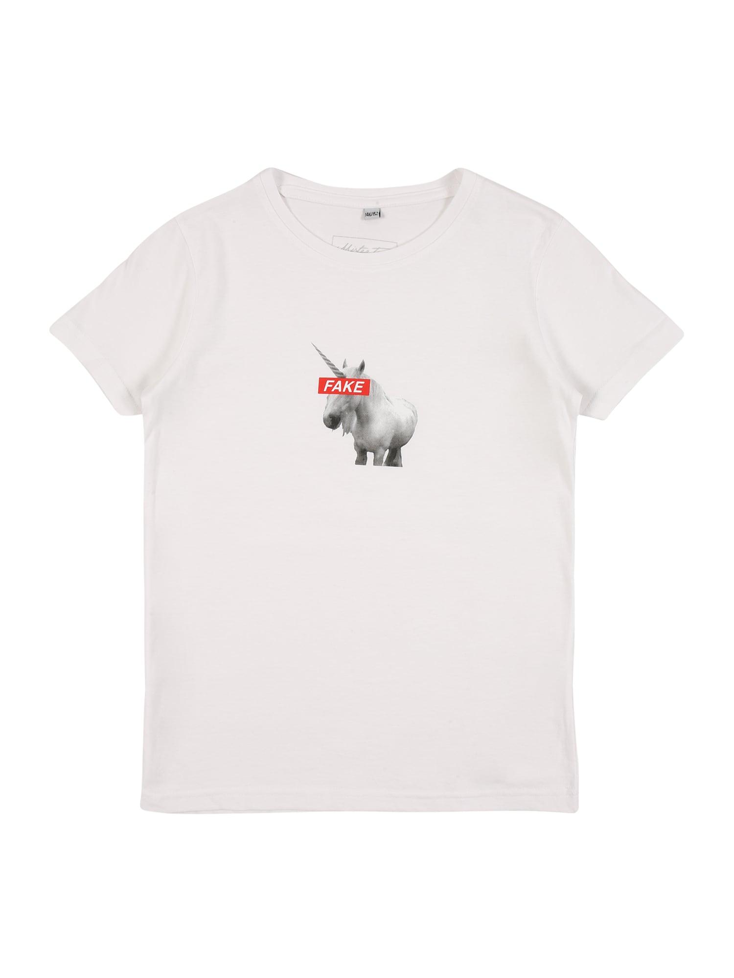 Mister Tee Tričko ' Fake Unicorn '  bílá / šedá / červená
