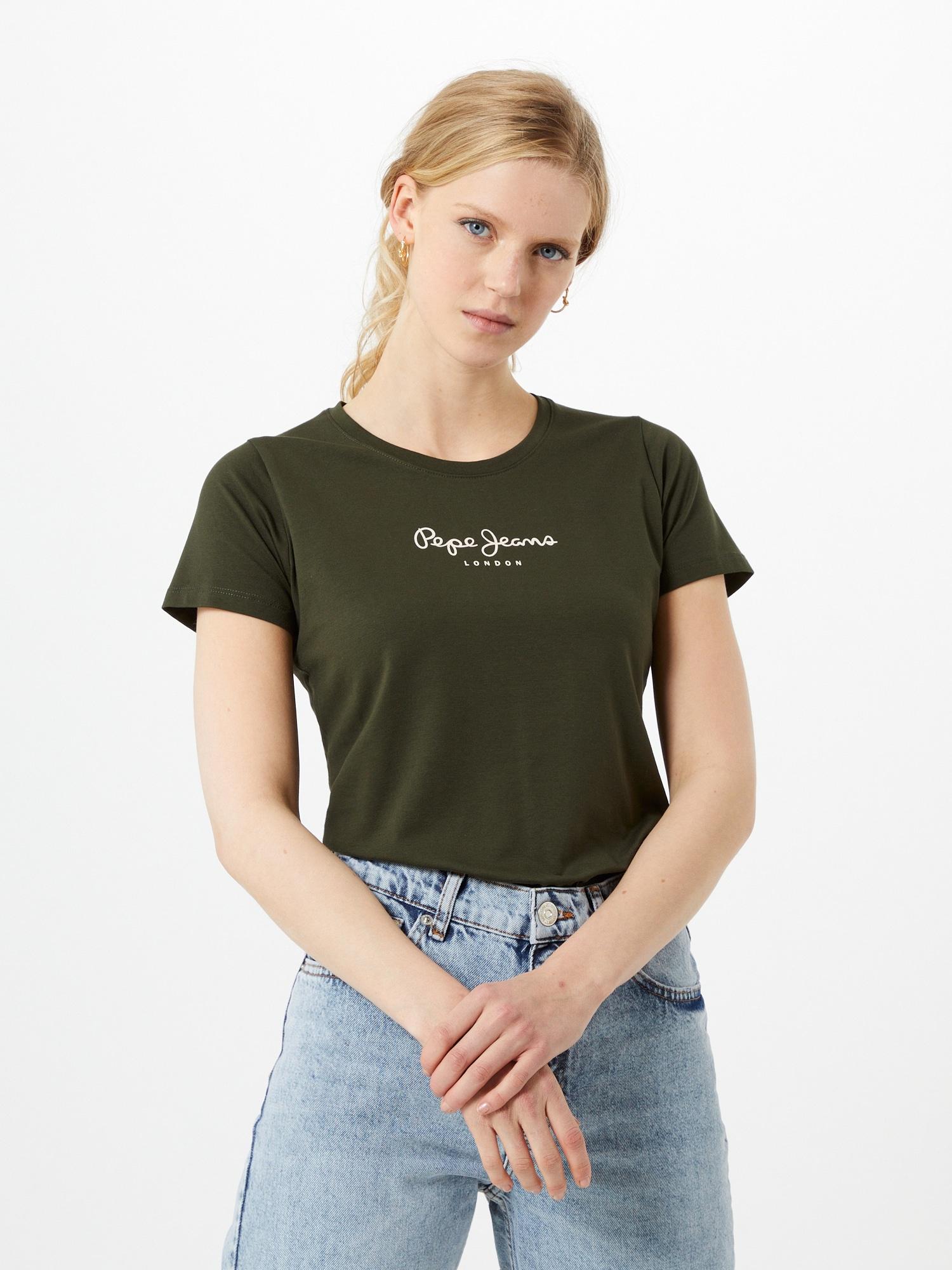 Pepe Jeans T-shirt 'New Virginia'  mörkgrön / vit