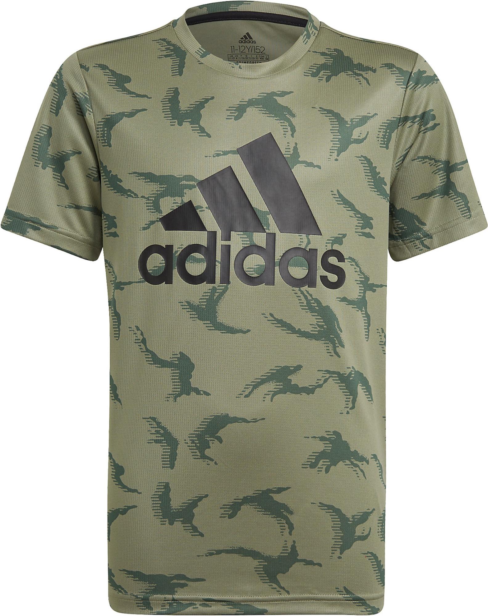 ADIDAS PERFORMANCE Sportiniai marškinėliai juoda / tamsiai žalia / rusvai žalia