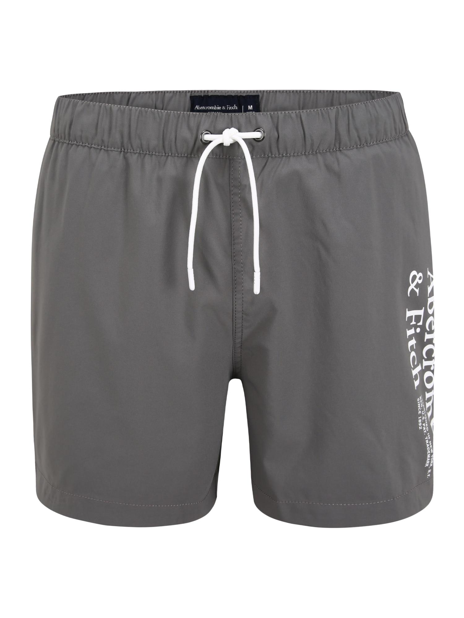 Abercrombie & Fitch Plavecké šortky  šedá / bílá