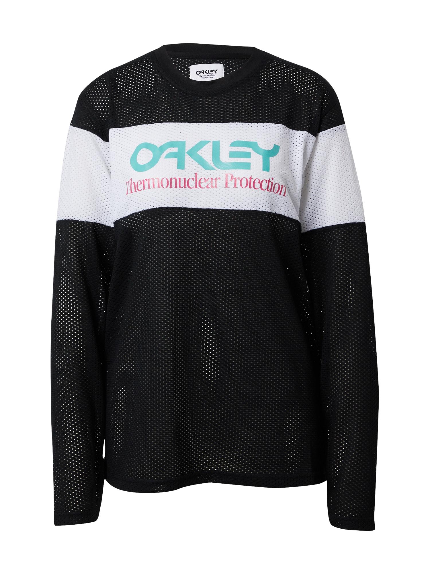 OAKLEY Sportiniai marškinėliai juoda / balta