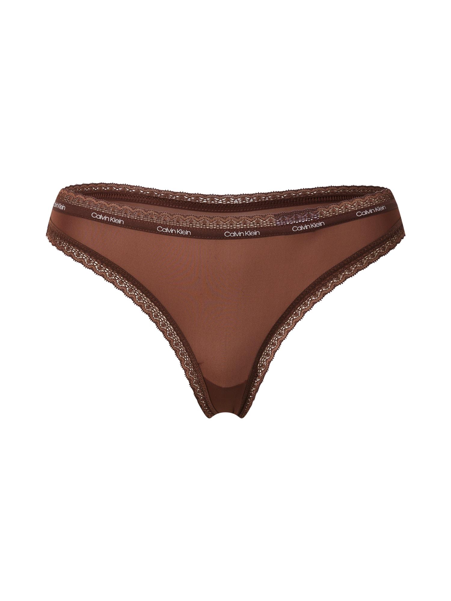Calvin Klein Underwear Siaurikės tamsiai ruda / balta