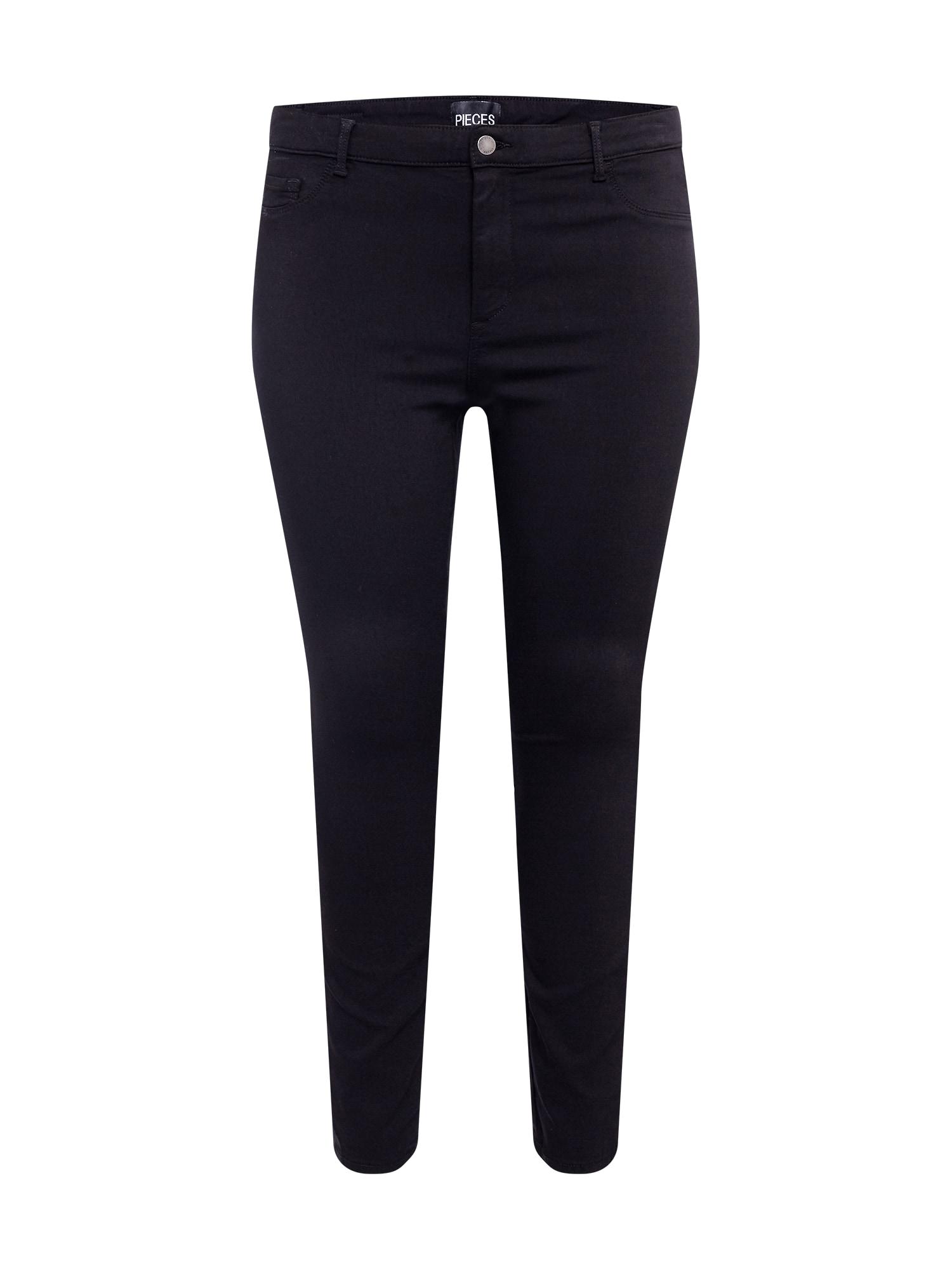 PIECES (Curve) Džegingsai juodo džinso spalva