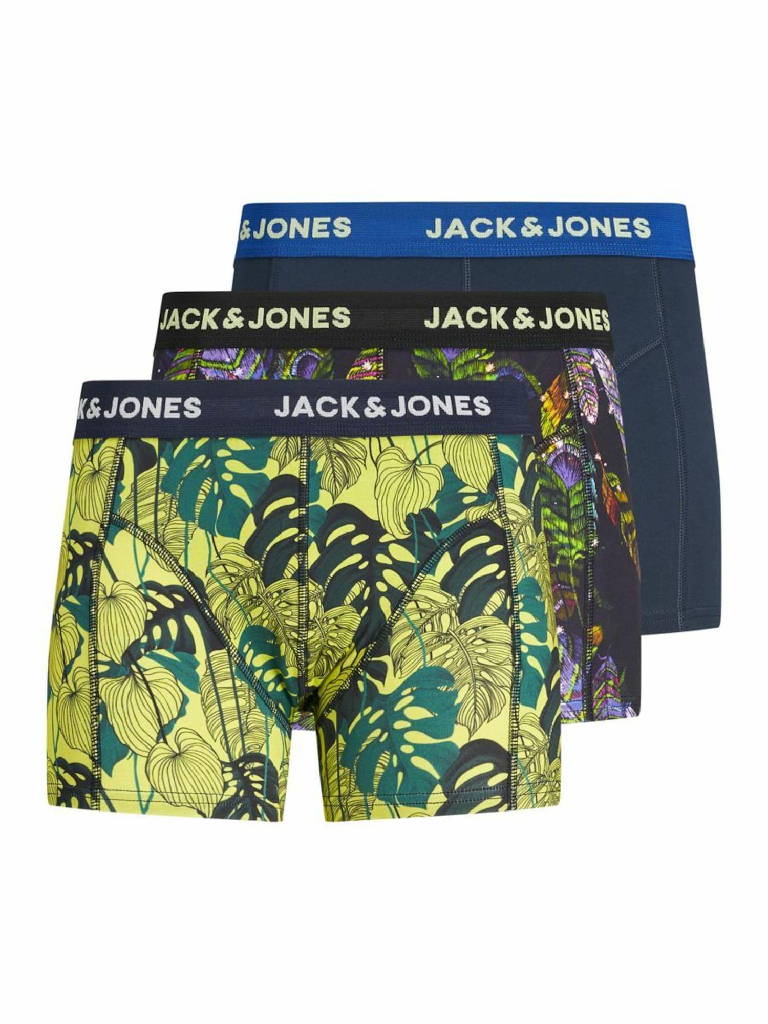 JACK & JONES Boxer trumpikės geltona / juoda / gencijono spalva