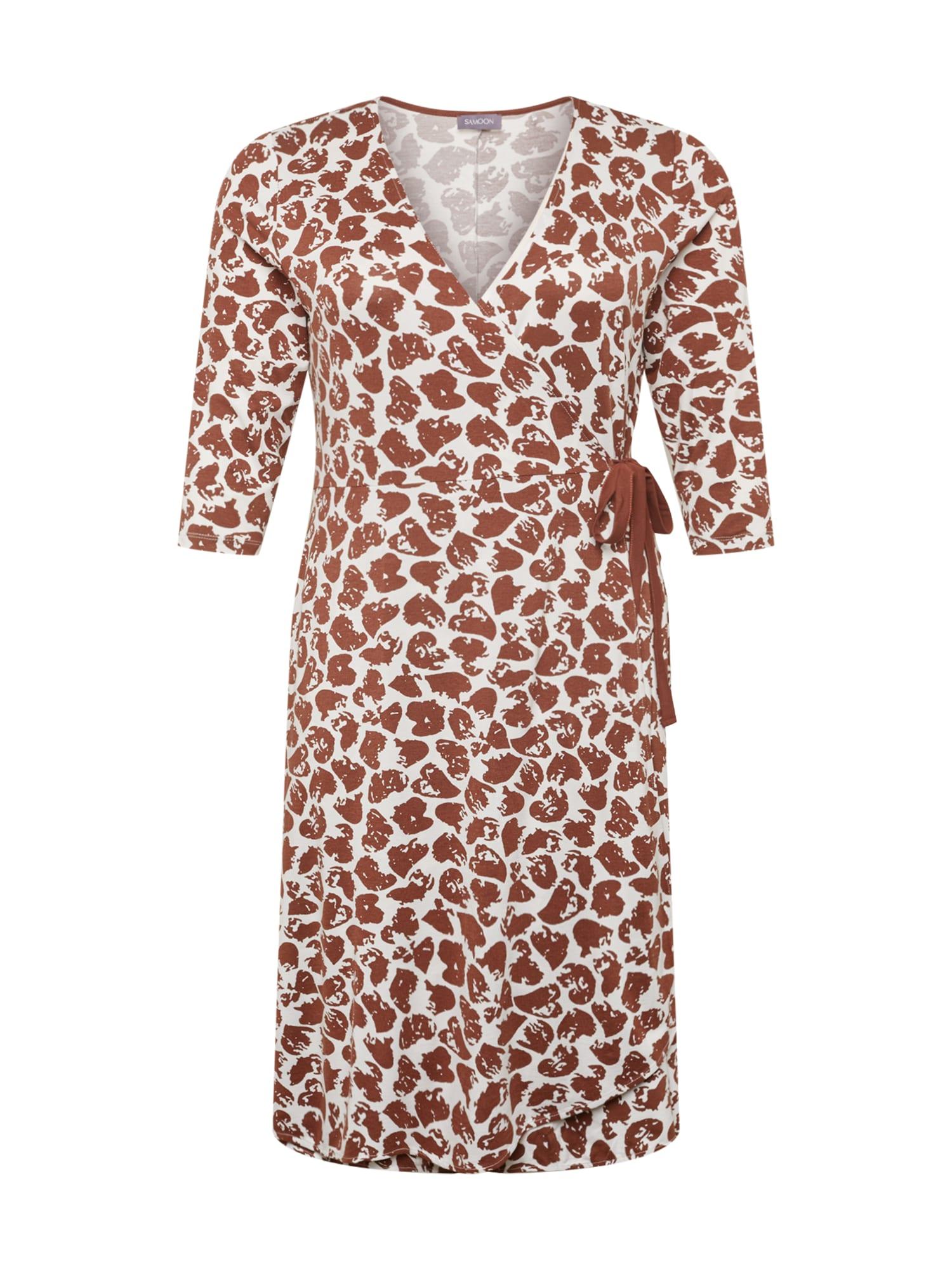 SAMOON Suknelė ruda / balta