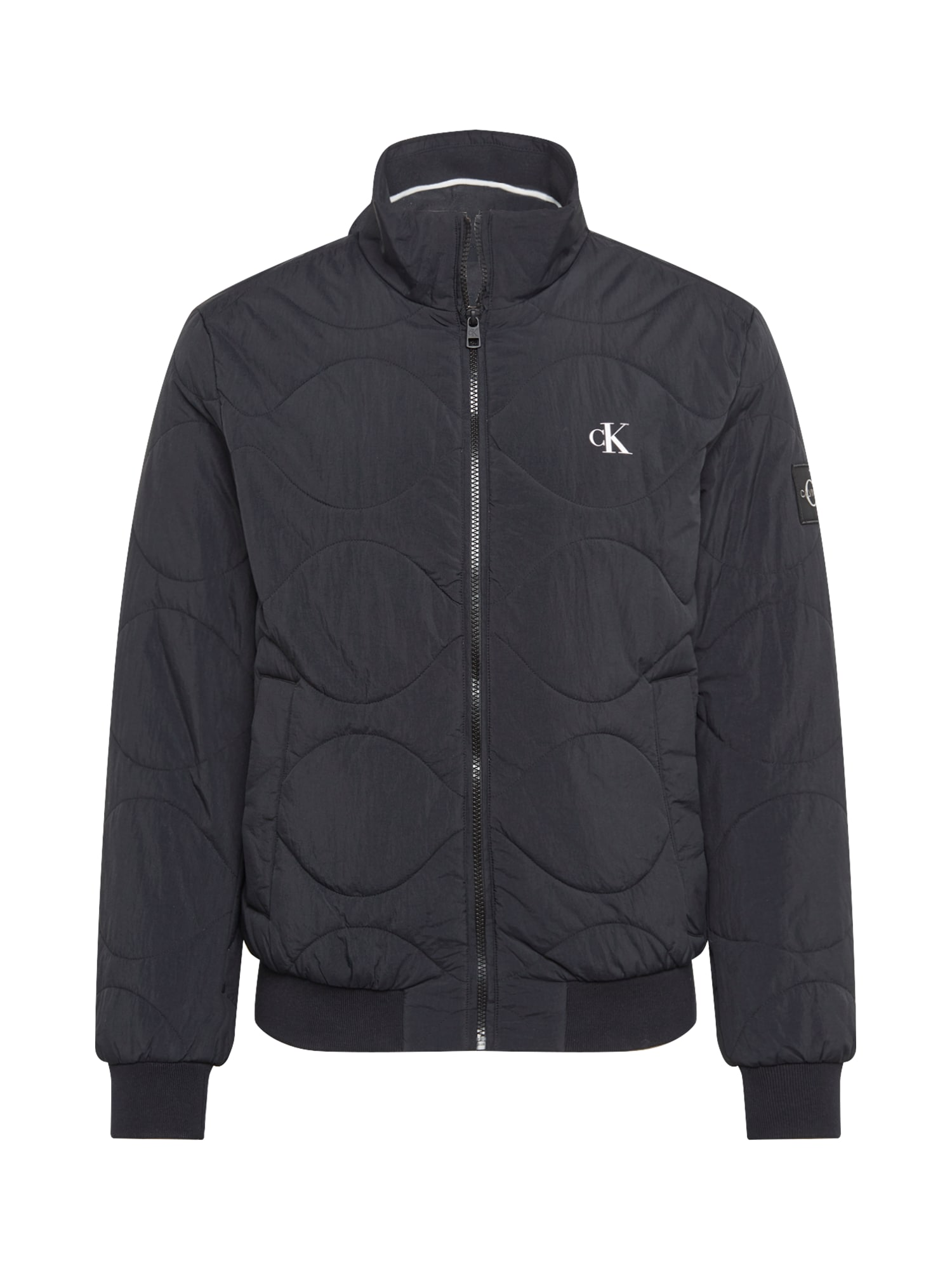 Calvin Klein Demisezoninė striukė juoda / balta